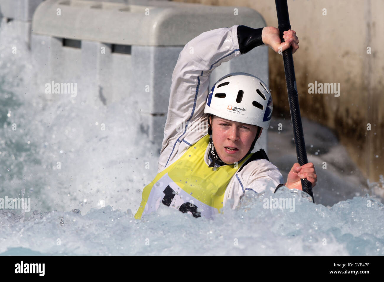 Louise REVELL, B Final K1 Women's GB Canoe Slalom 2014 Selection Trials Lee Valley White Water Centre, London, UK - Stock Image
