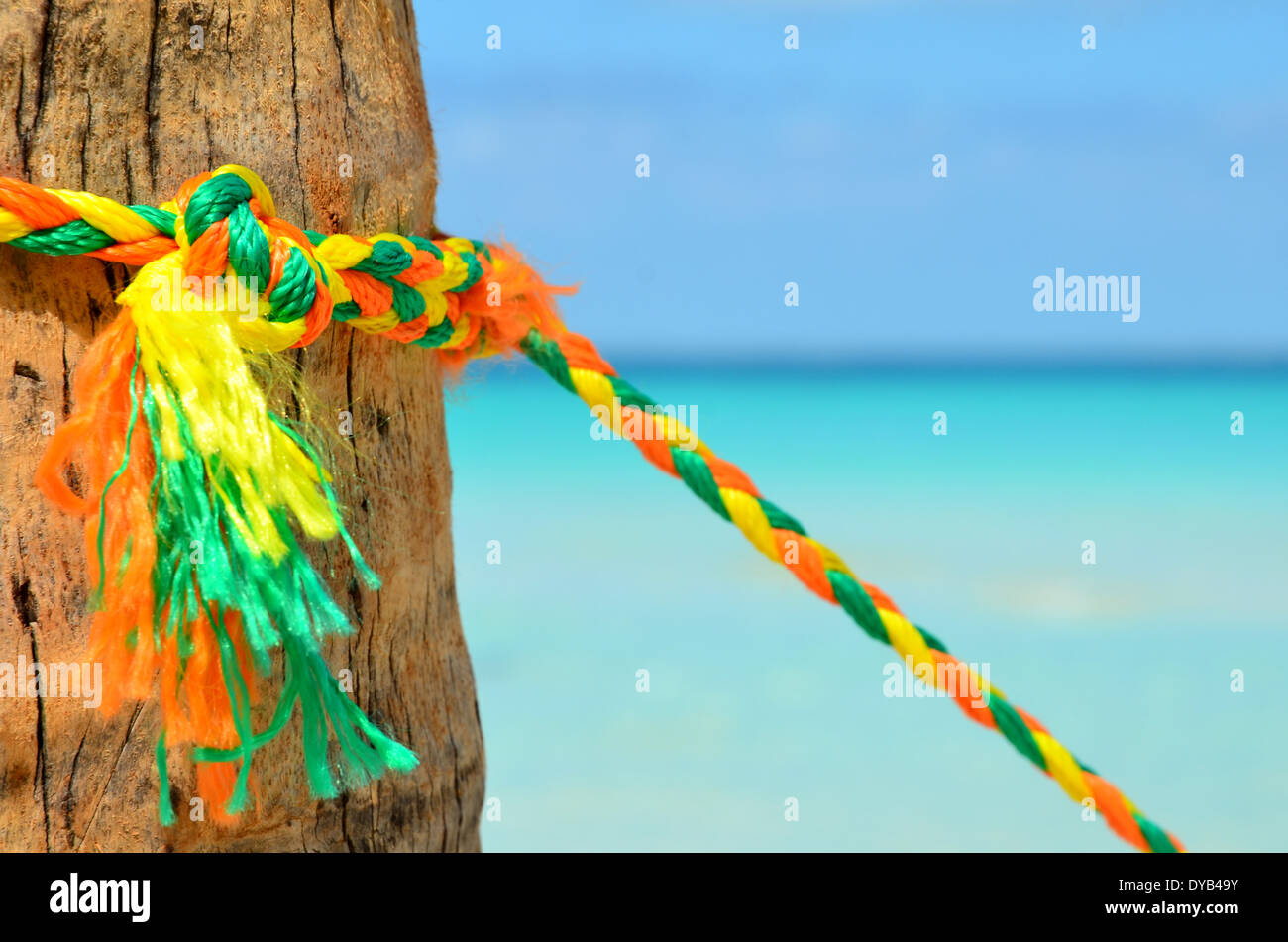 color ful rope on pole - Stock Image
