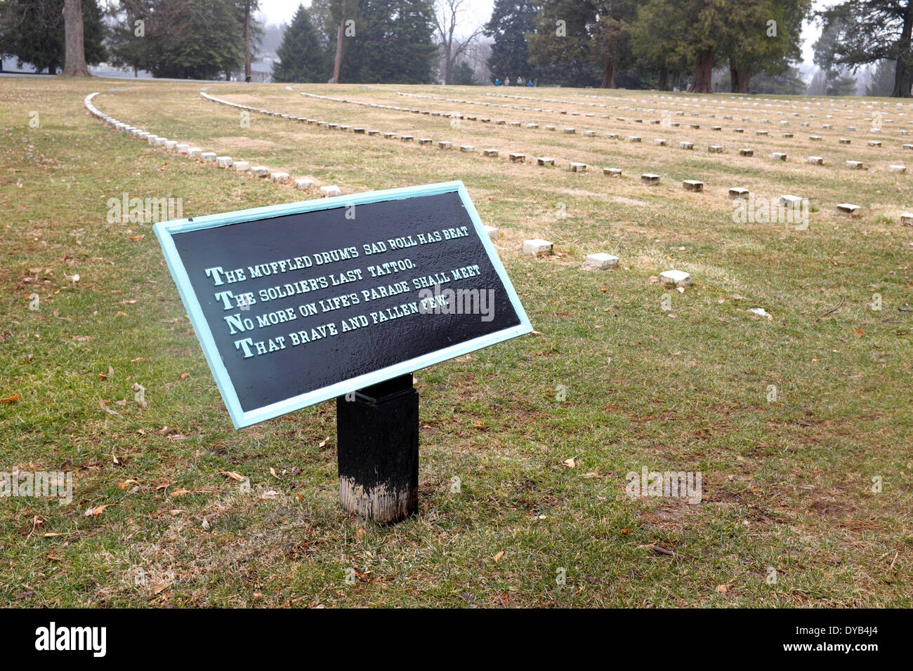 Sign at Gettysburg National Cemetery commemorating the war dead - Stock Image