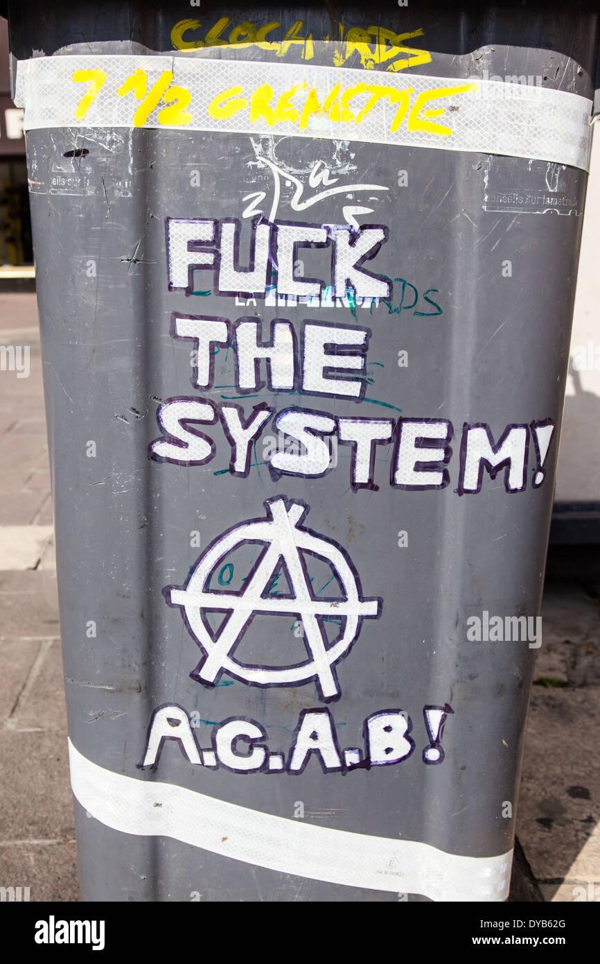 Anarchist Graffiti Grenoble France - Stock Image