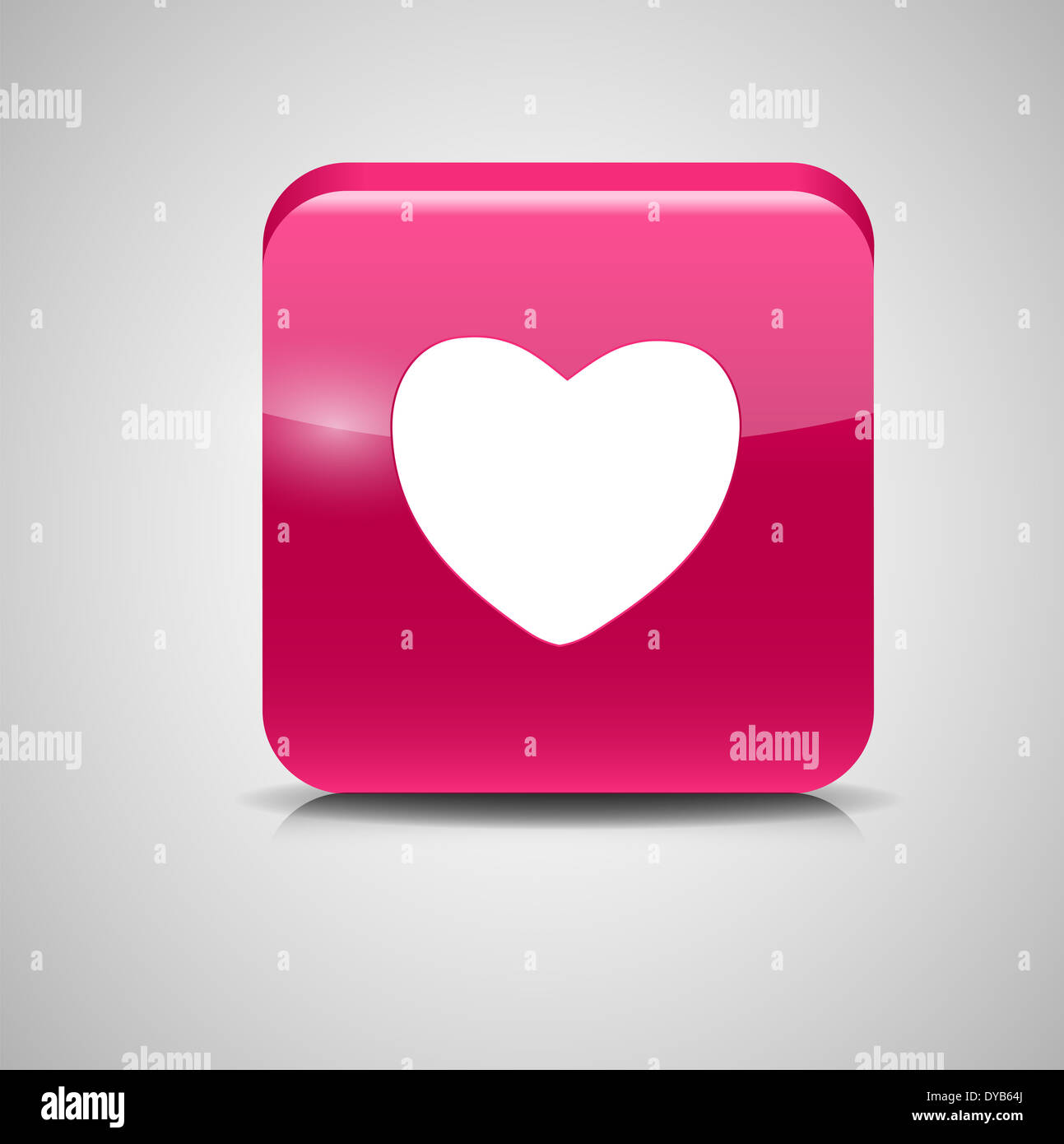 Heart Shaped Glass Button  Vector Illustration Stock Photo