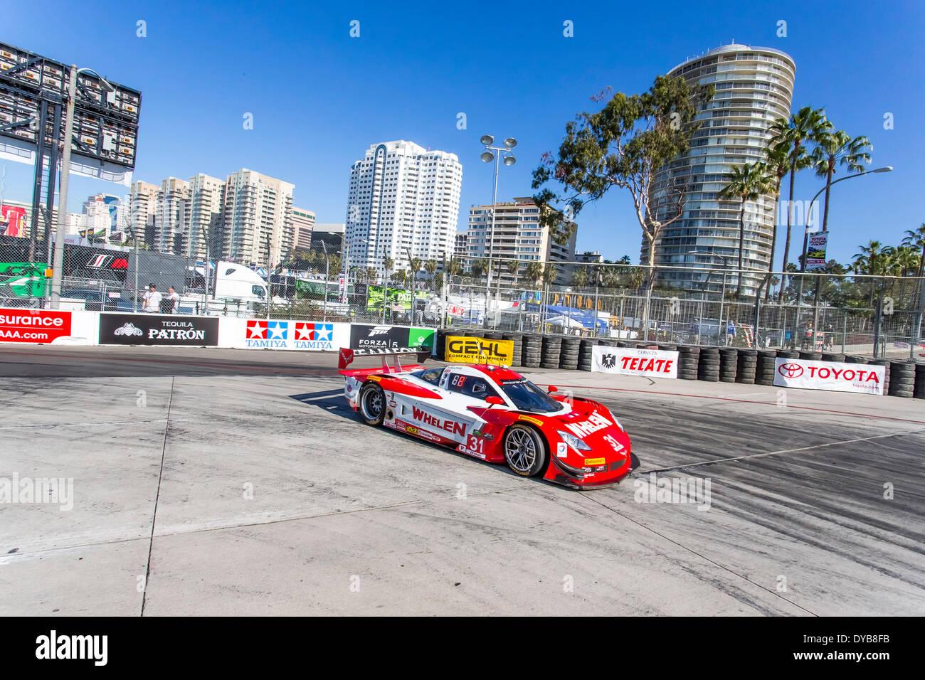 Long Beach, CA, USA. 11th Apr, 2014. Long Beach, CA - Apr 11, 2014: The Marsh Racing Corvette DP car goes on track Stock Photo