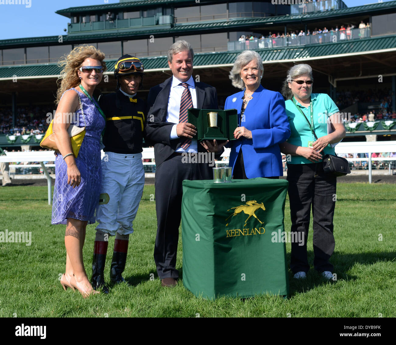 Lexington, KY, USA. 12th Apr, 2014. Aoril 12, 2014: Judy the Beauty and jockey John Velazquez win the G1 Madison Stock Photo