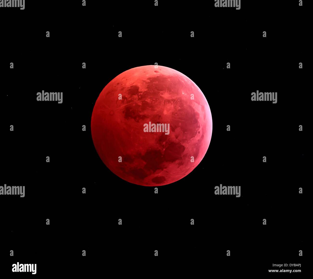 Total lunar eclipse taken on December 10, 2011. Stock Photo