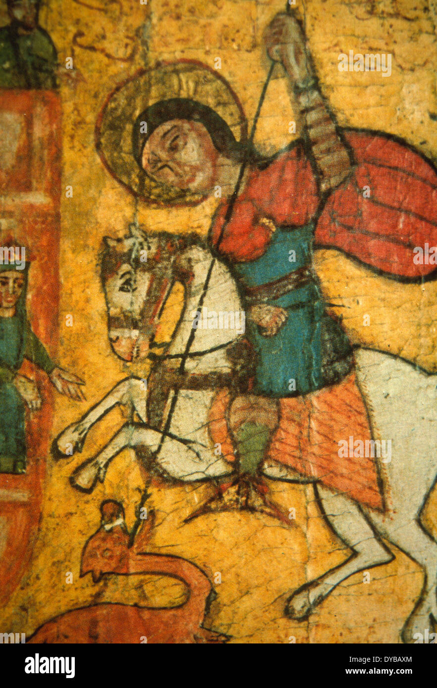 Old icon of St George slaying the Dragon in a church in Cairo - Stock Image