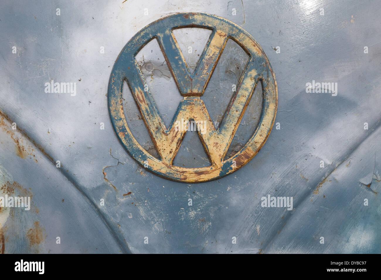 VW Badge on a Rat look Camper at the Santa Pod Raceway England - Stock Image