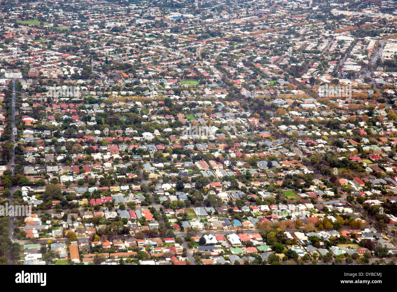 Aerial view of the northern suburbs of Adelaide Australia - Stock Image
