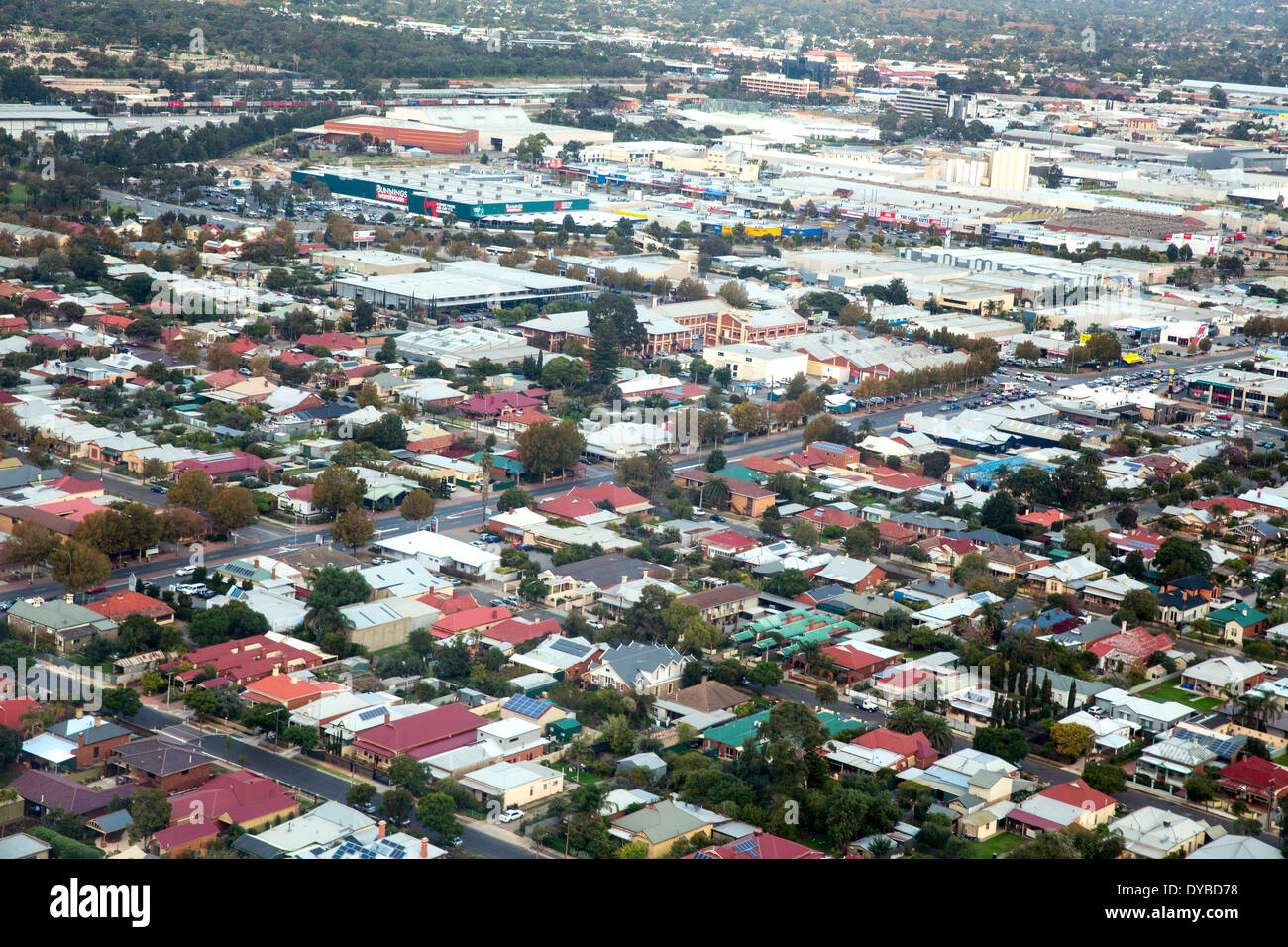 Aerial view of the inner western suburbs of Adelaide Australia - Stock Image