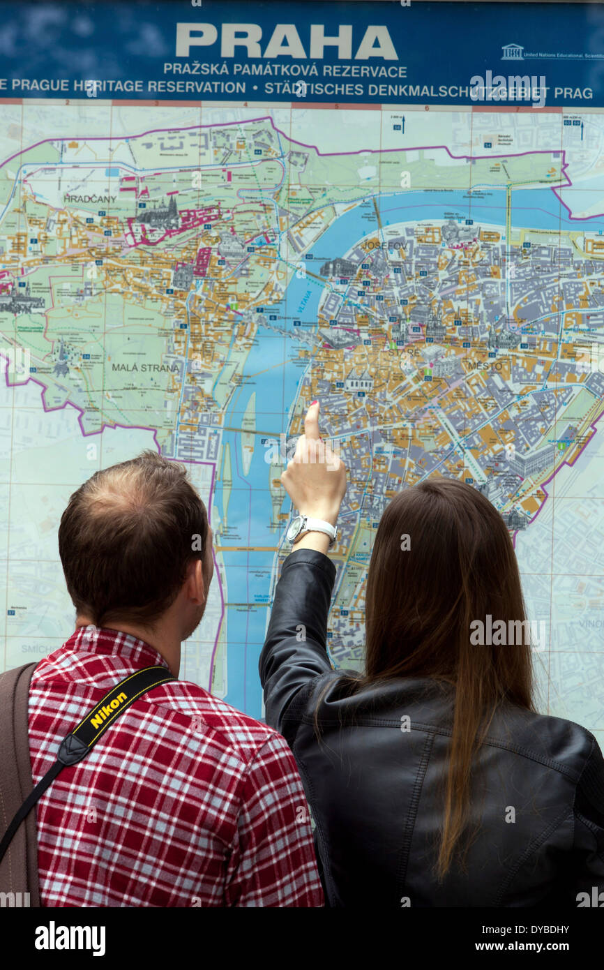 Tourists search routes in city map Prague Czech Republic,Europe, - Stock Image