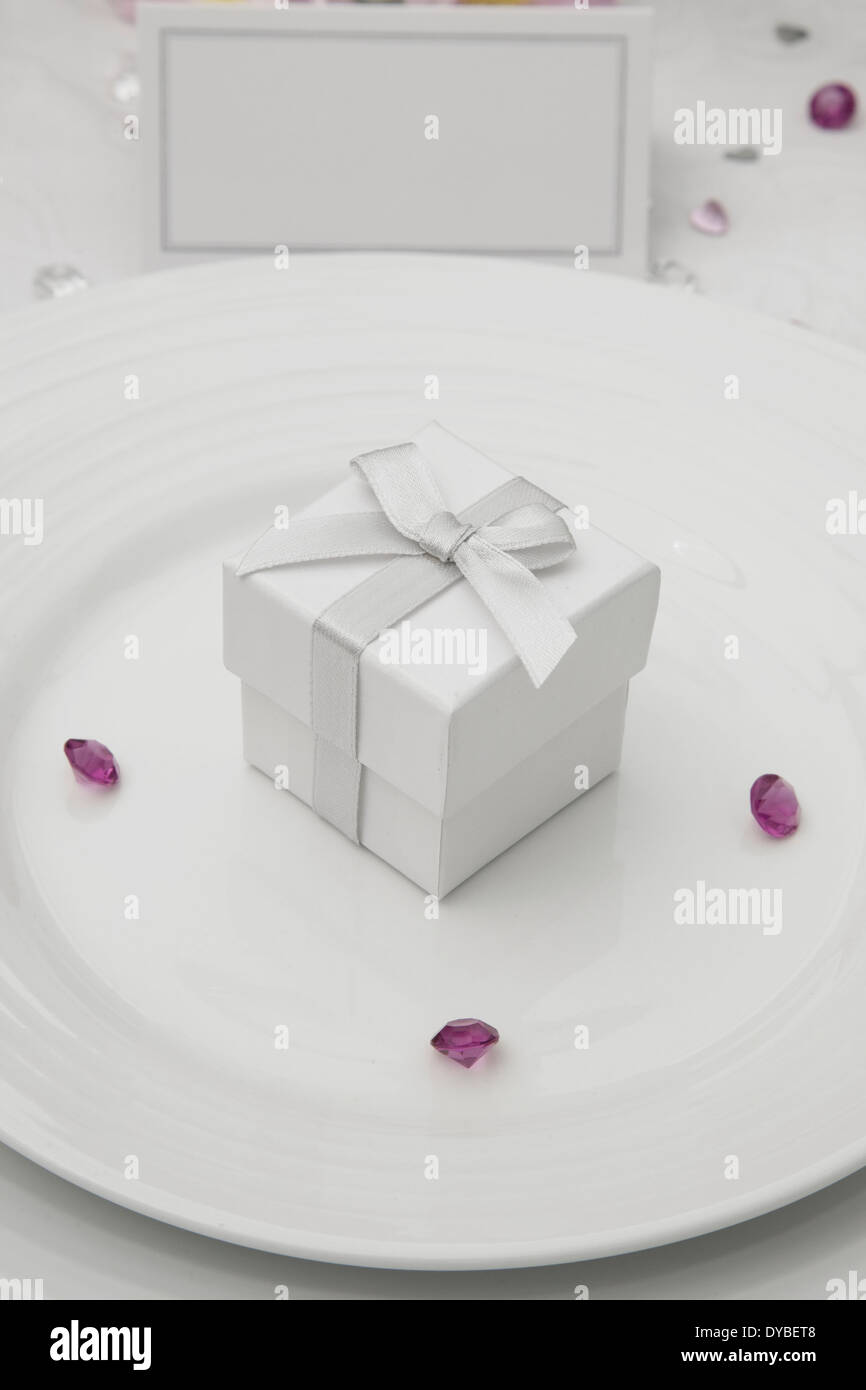 Wedding Table Display With Wedding Favor Box On A Bone China Plate