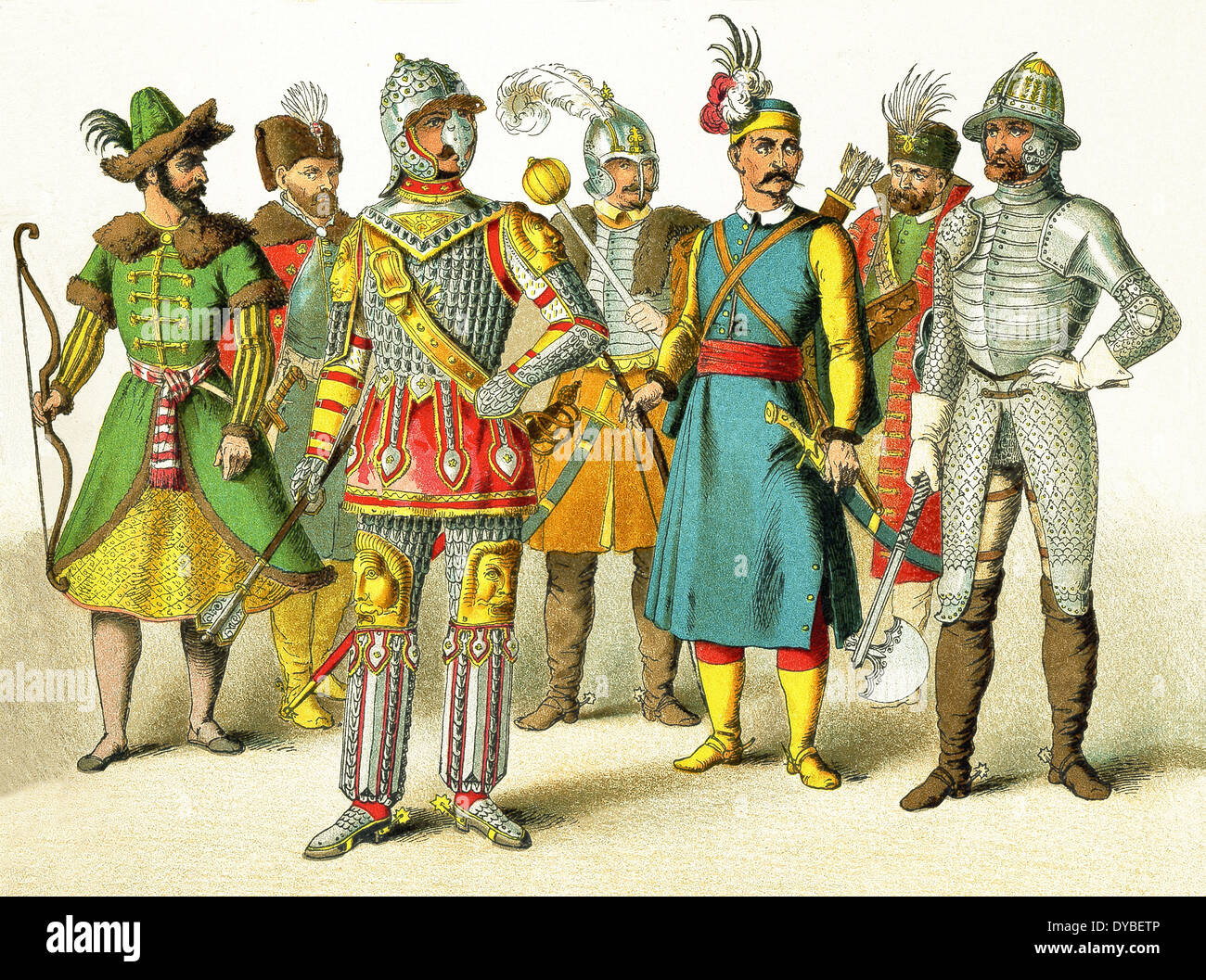 Here are Russian warrior, Polish king, Polish chief, Hungarian chief, Hungarian warrior, Hungarian prince, Hungarian warrior. - Stock Image