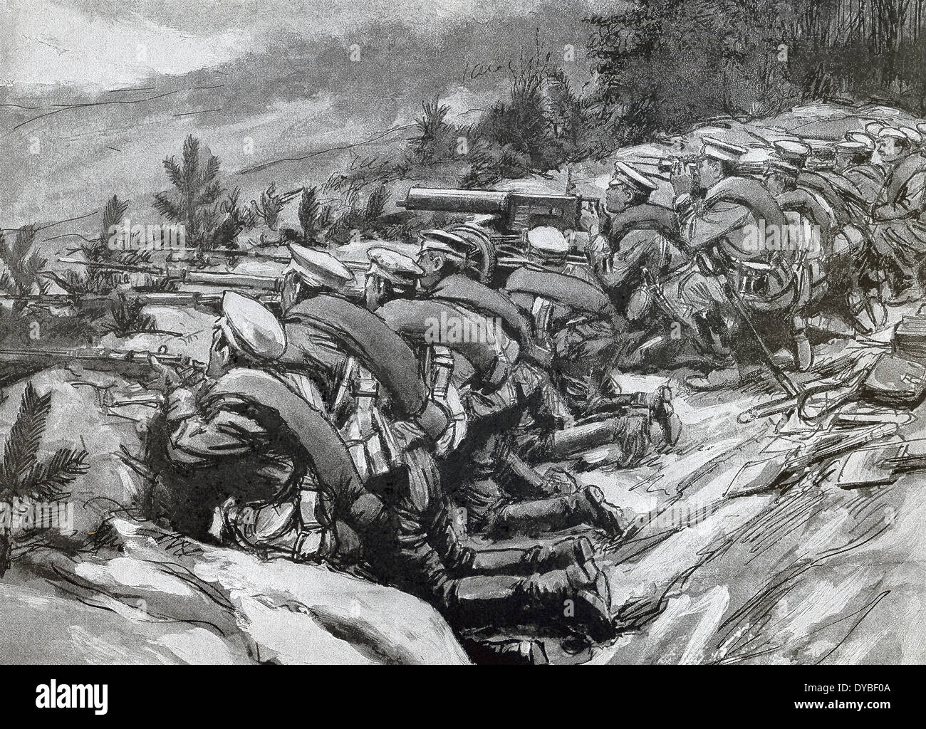 This contemporary illustration shows Russian soldiers in trenches awaiting attack by Austrian troops during World War I. - Stock Image