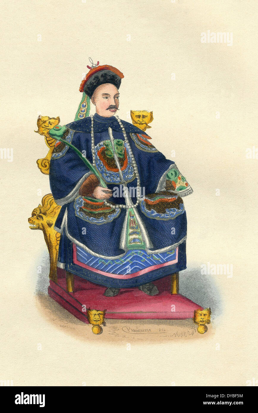 Chinese emperor in 1840s - the Daoguang Emperor who ruled from 1820 to 1850.   During his reign was the First Opium War. - Stock Image