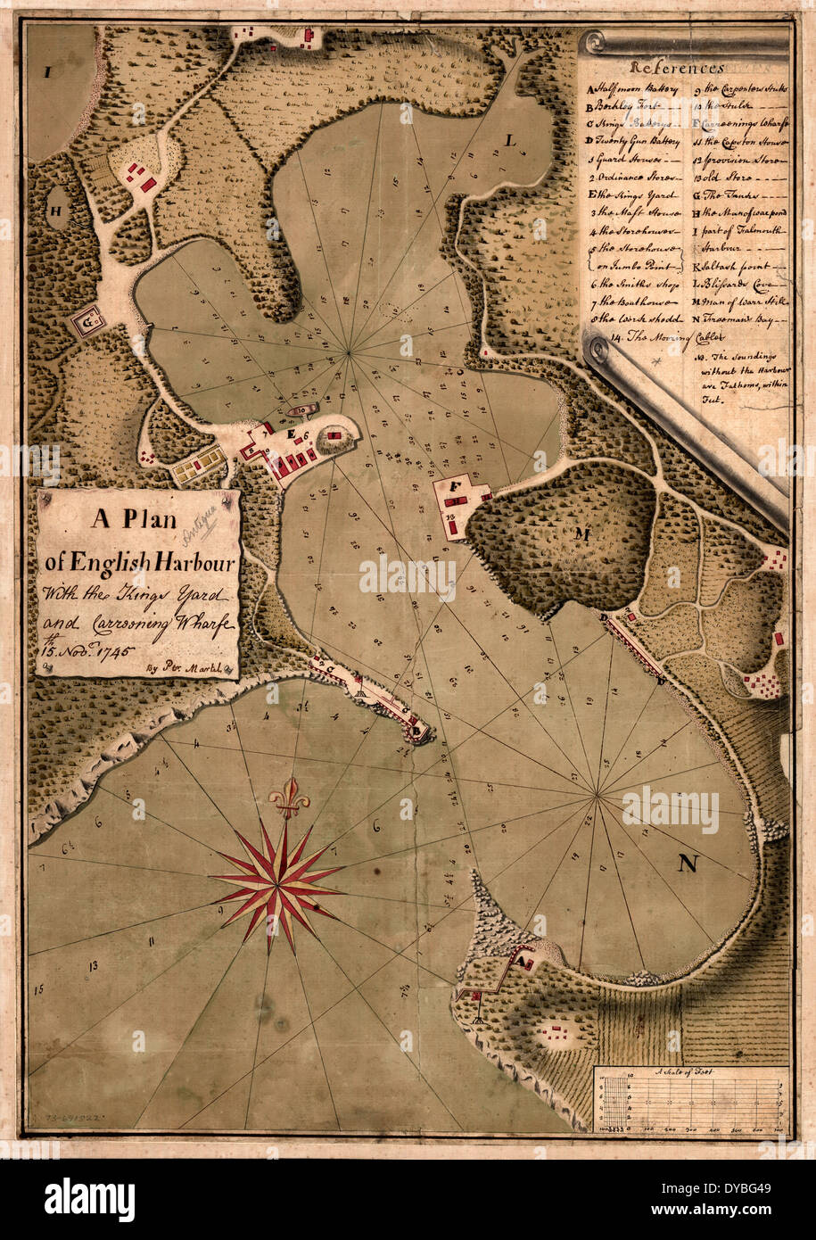 A plan of English Harbour; with the King's yard and carreening wharfe, 15th. Nov. 1745. - Stock Image