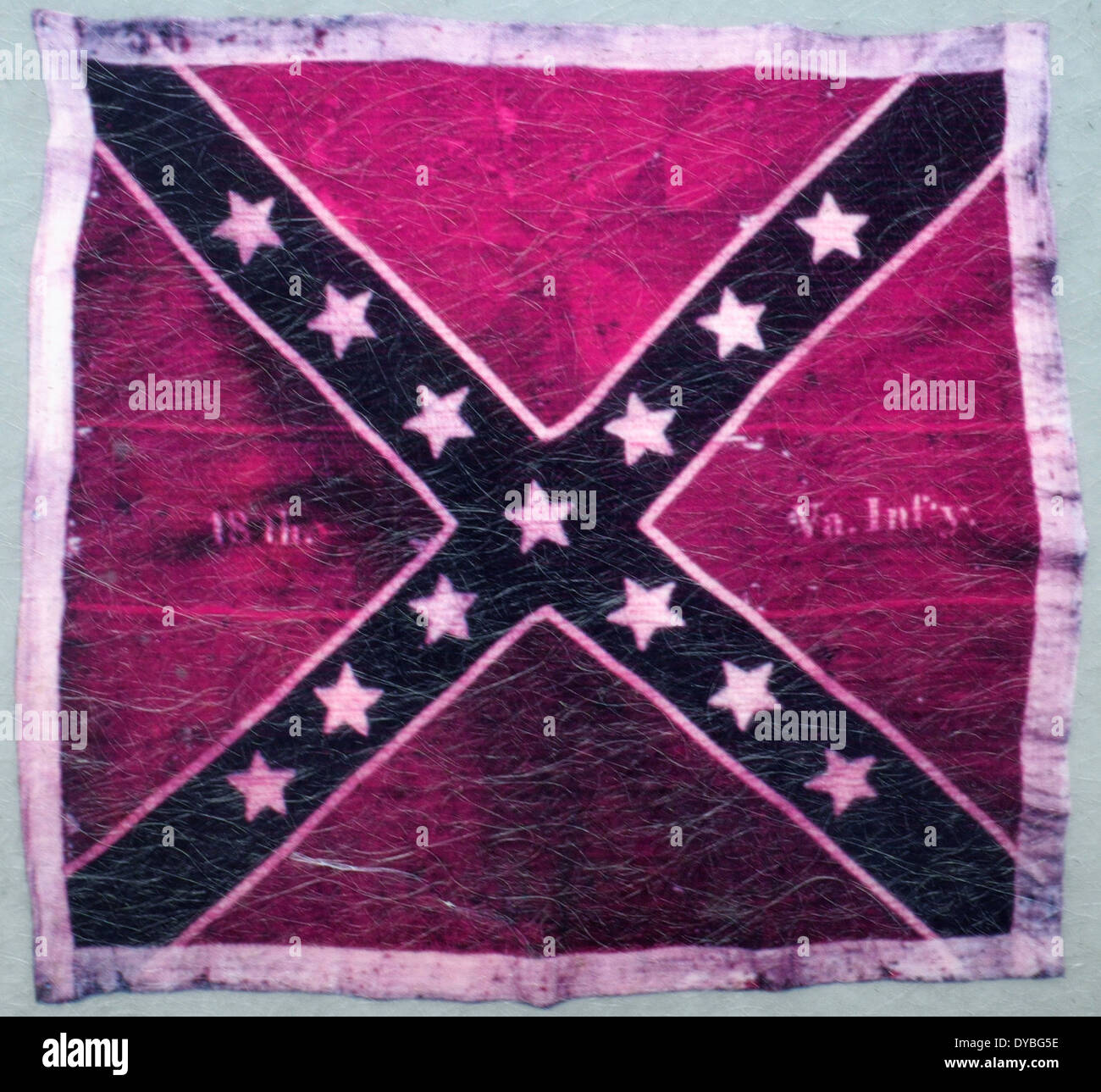 Battle flag of the 18th Virginia Infantry carried in Pickett's Charge and captured by the 59th New York Infantry, Battle of Gettysburg, July 1863 - Stock Image