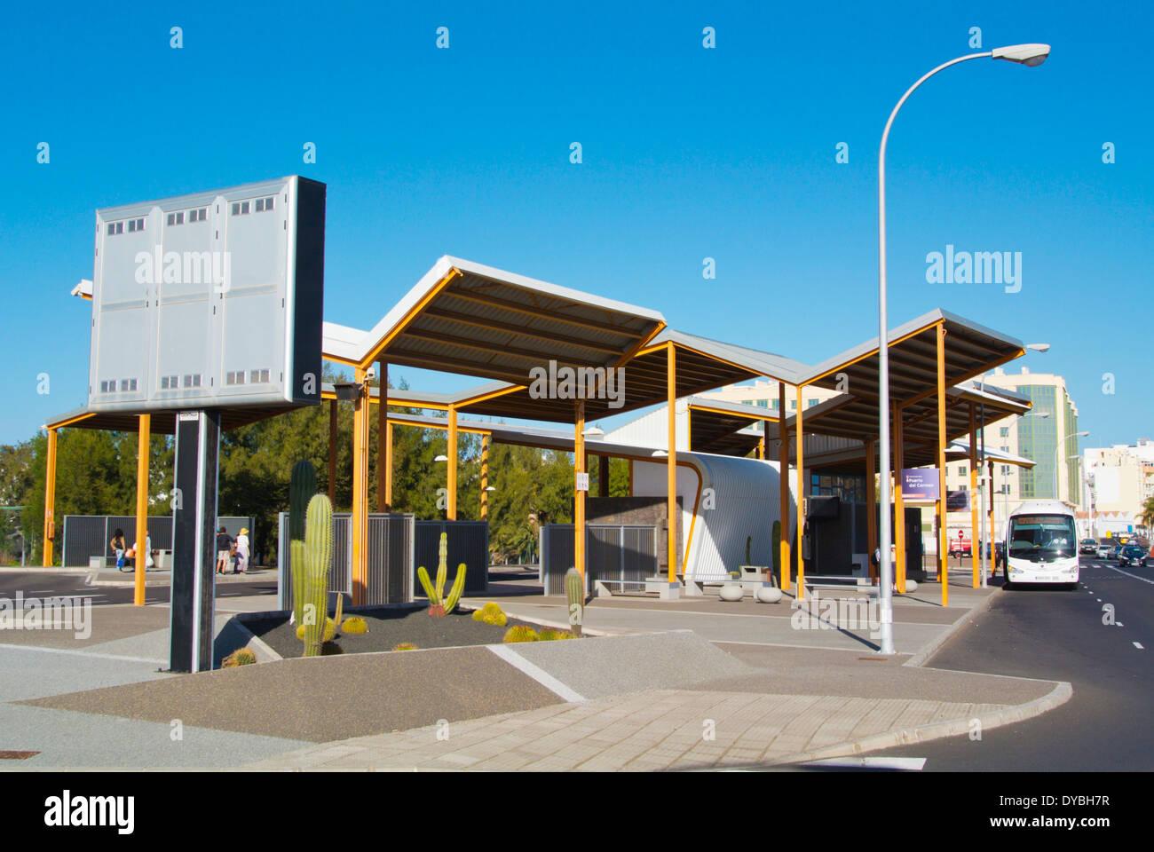 Bus station, Arrecife, Lanzarote, Canary Islands, Spain, Europe - Stock Image