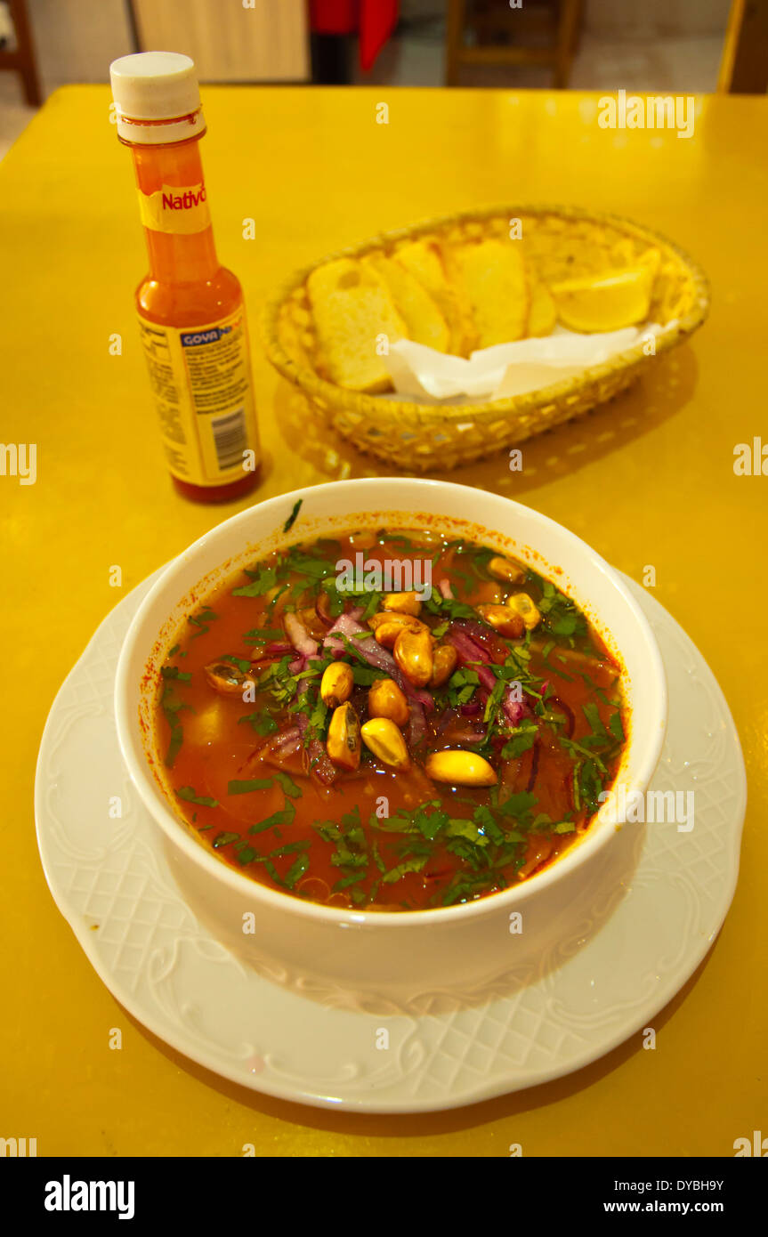 Ecuadorian seafood soup with bread and pimiento sauce, Arrecife, Lanzarote, Canary Islands, Spain, Europe - Stock Image
