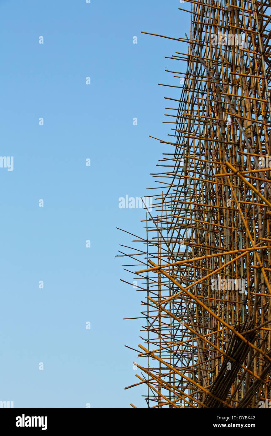 Bamboo Scaffolding, Hong Kong. - Stock Image