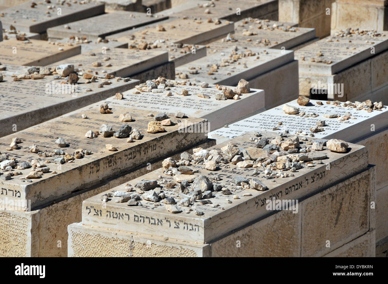 View of tombs in the Jewish cemetery of the Mount of Olives , Jerusalem, Israel - Stock Image