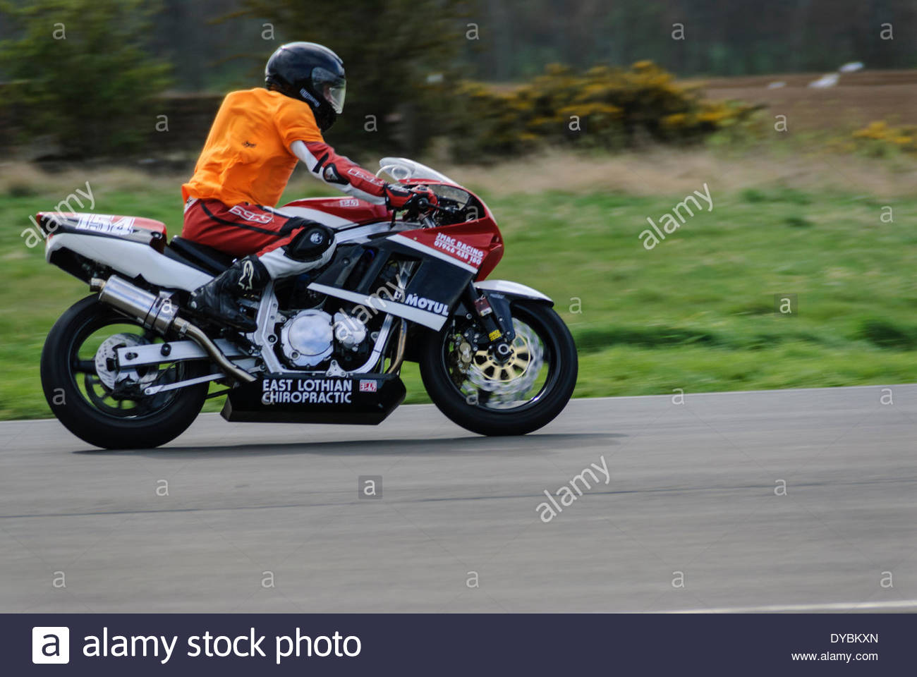 East Fortune, UK. 13th Apr 2014.  154 Ryan Johnstone on the J Mac Racing GSXR1100 during the Junior and Senior Post Classic race at East Fortune Raceway - Stock Image