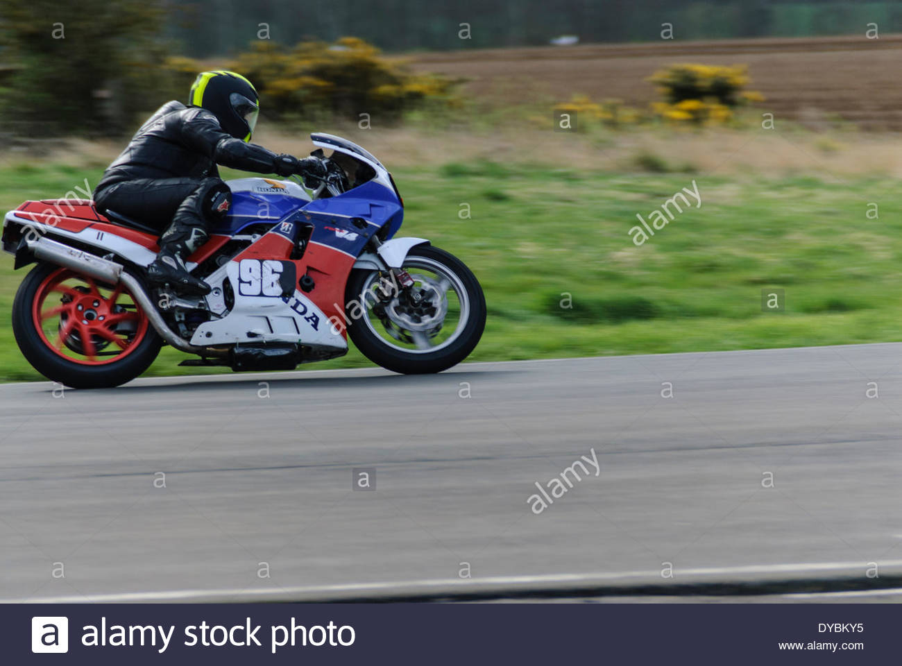 East Fortune, UK. 13th Apr 2014.  96 Kevin Miller's Honda VFR during the Junior and Senior Post Classic race at East Fortune Raceway - Stock Image