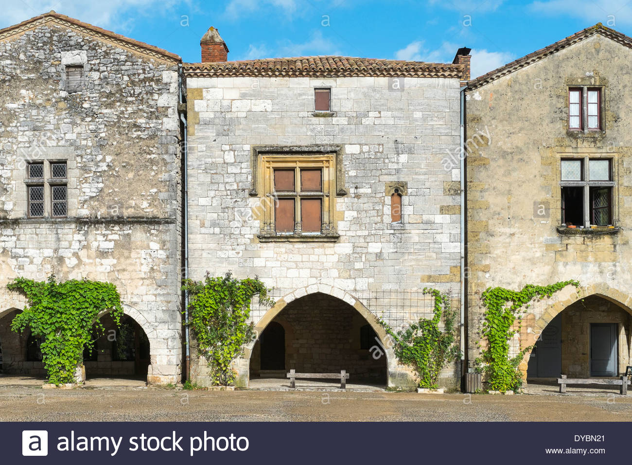 town square of French bastide town of Monpazier, Dordogne department, Aquitaine, France Stock Photo