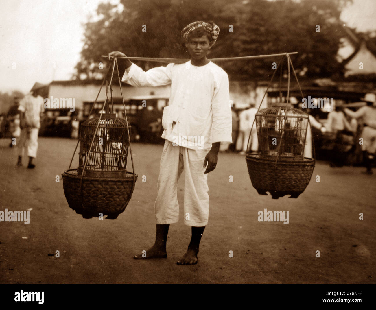 Java Bird seller probably 1920s - Stock Image