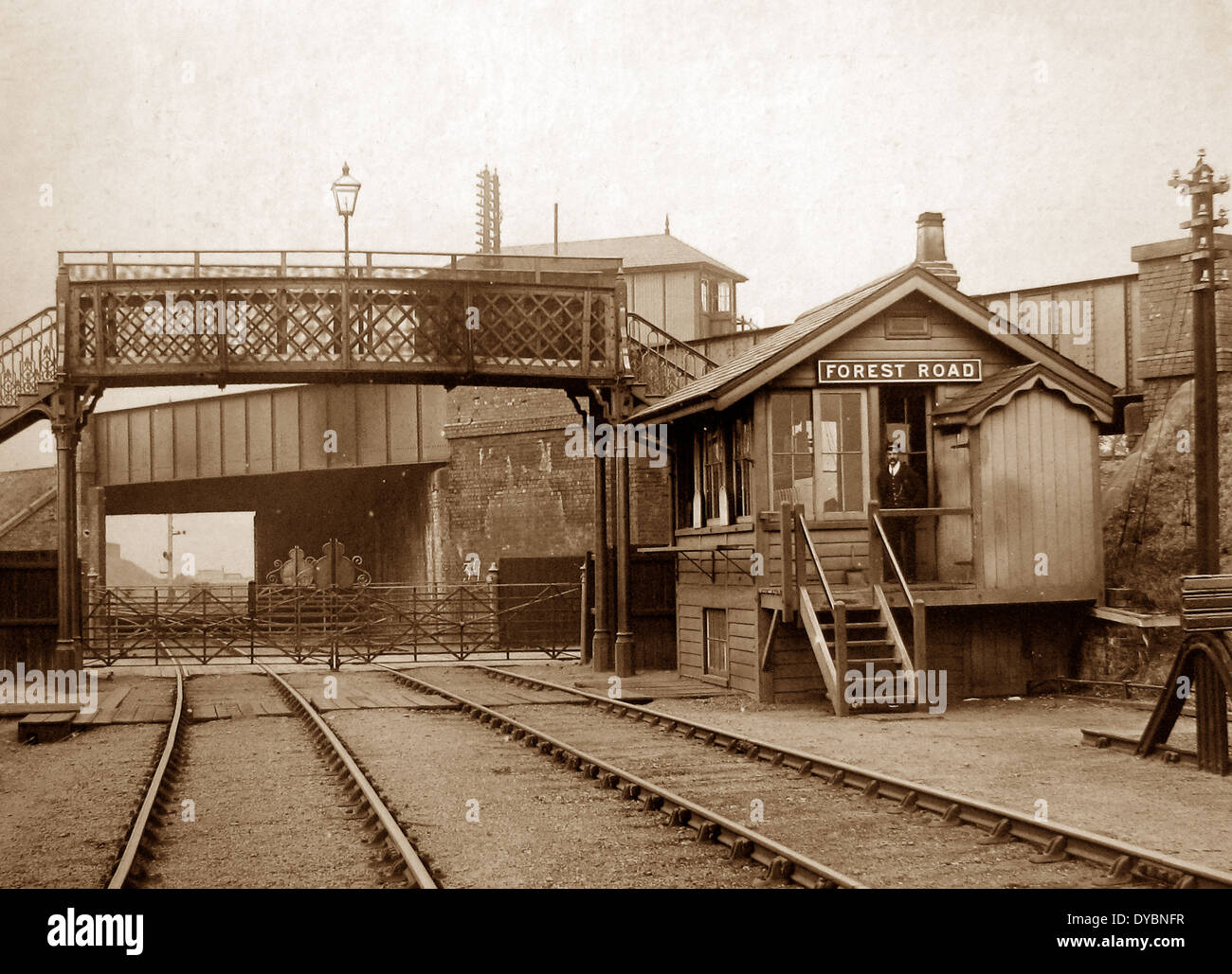 Leicester - Forest Road Signal Box in 1903 - Stock Image