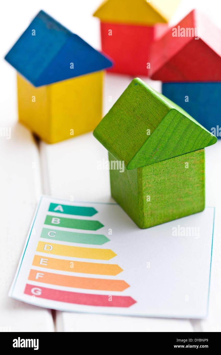 the wooden house with energy efficiency levels Stock Photo