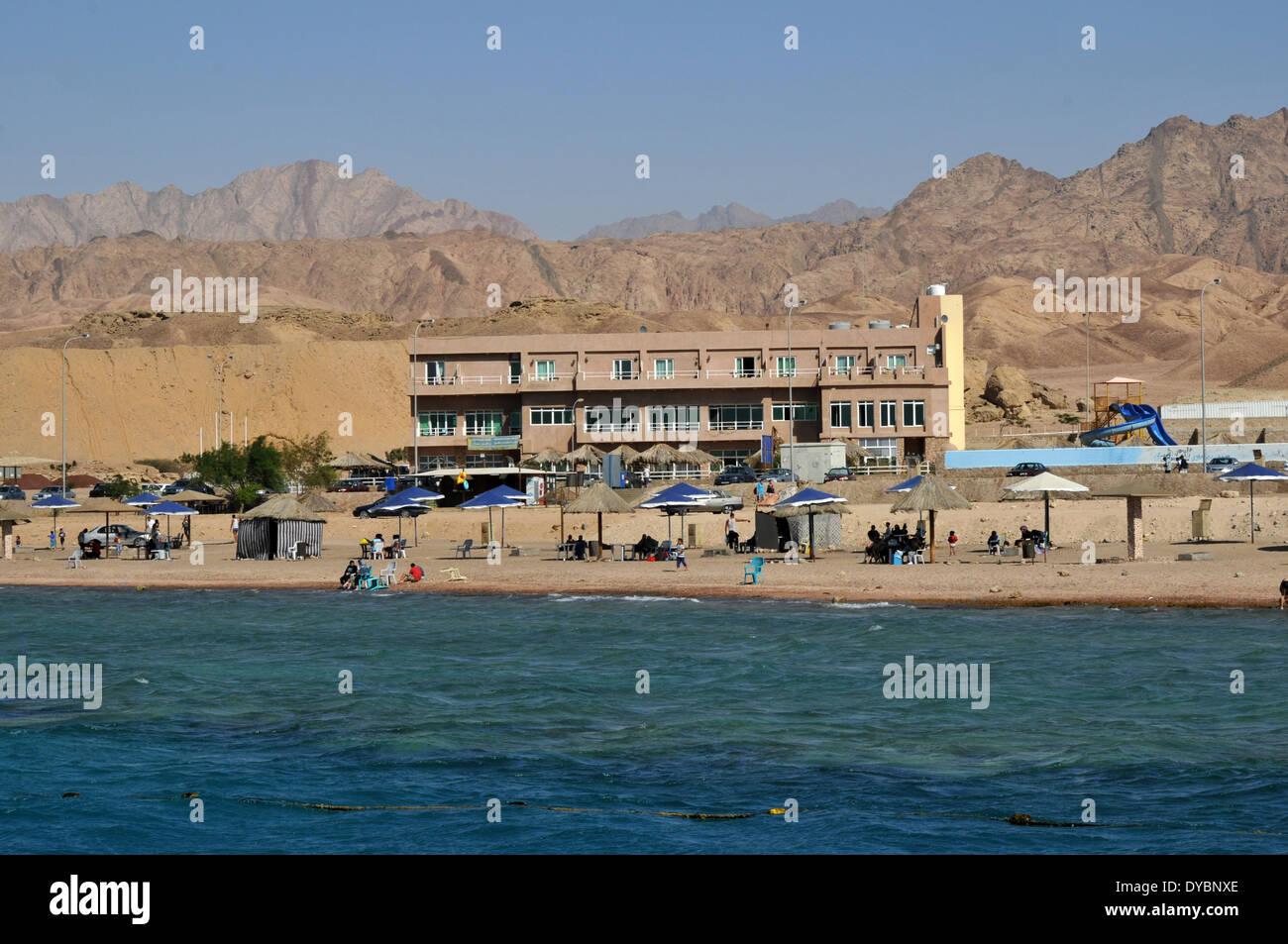 Resort near the coast, Gulf of Aqaba, Red Sea, Jordan Stock Photo
