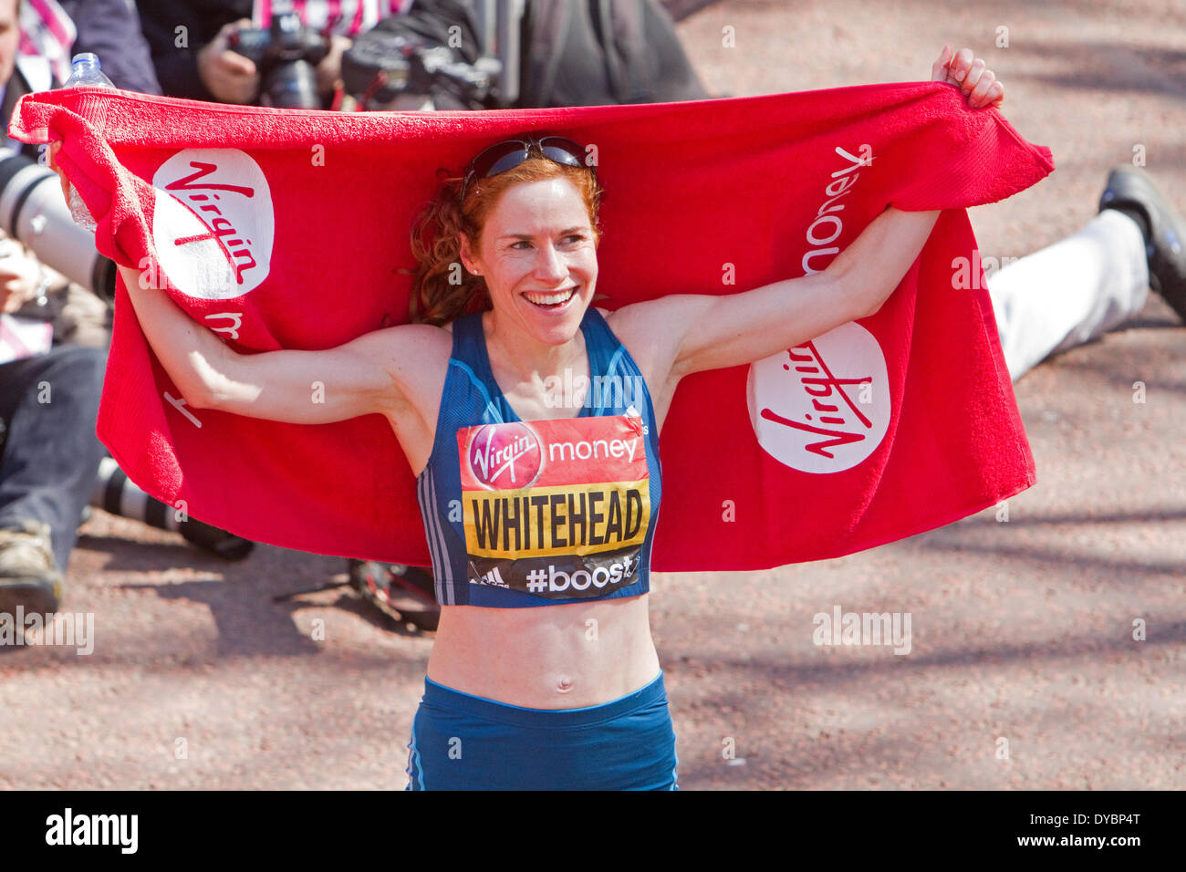 London, UK. 13th April, 2014,Amy Whitehead poses after finishing the London Marathon   Credit:  Keith Larby/Alamy Live News - Stock Image