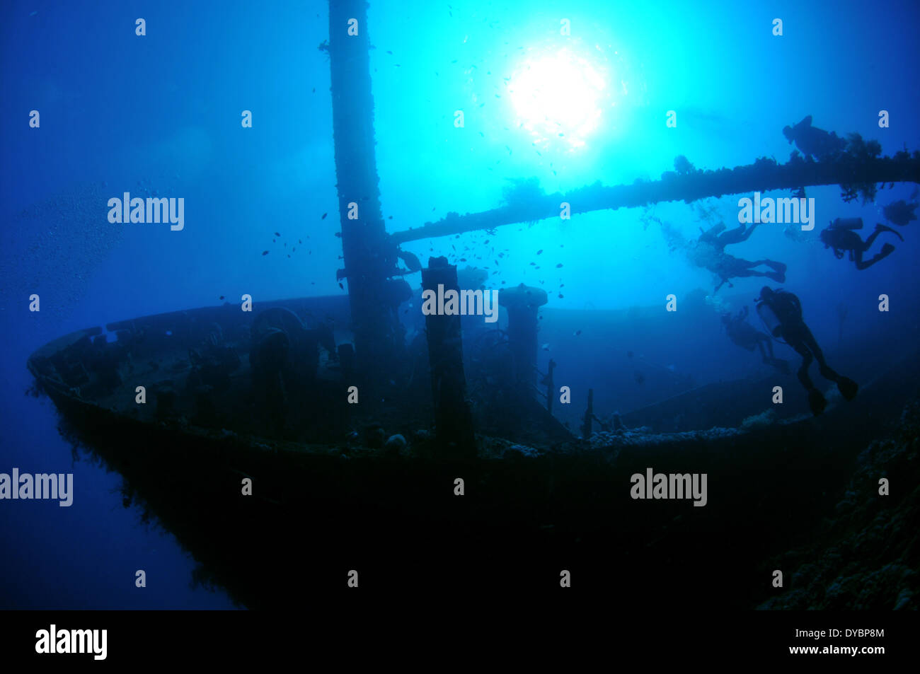 Bow of the Cedar Pride shipwreck and divers, Gulf of Aqaba, Red Sea, Jordan - Stock Image