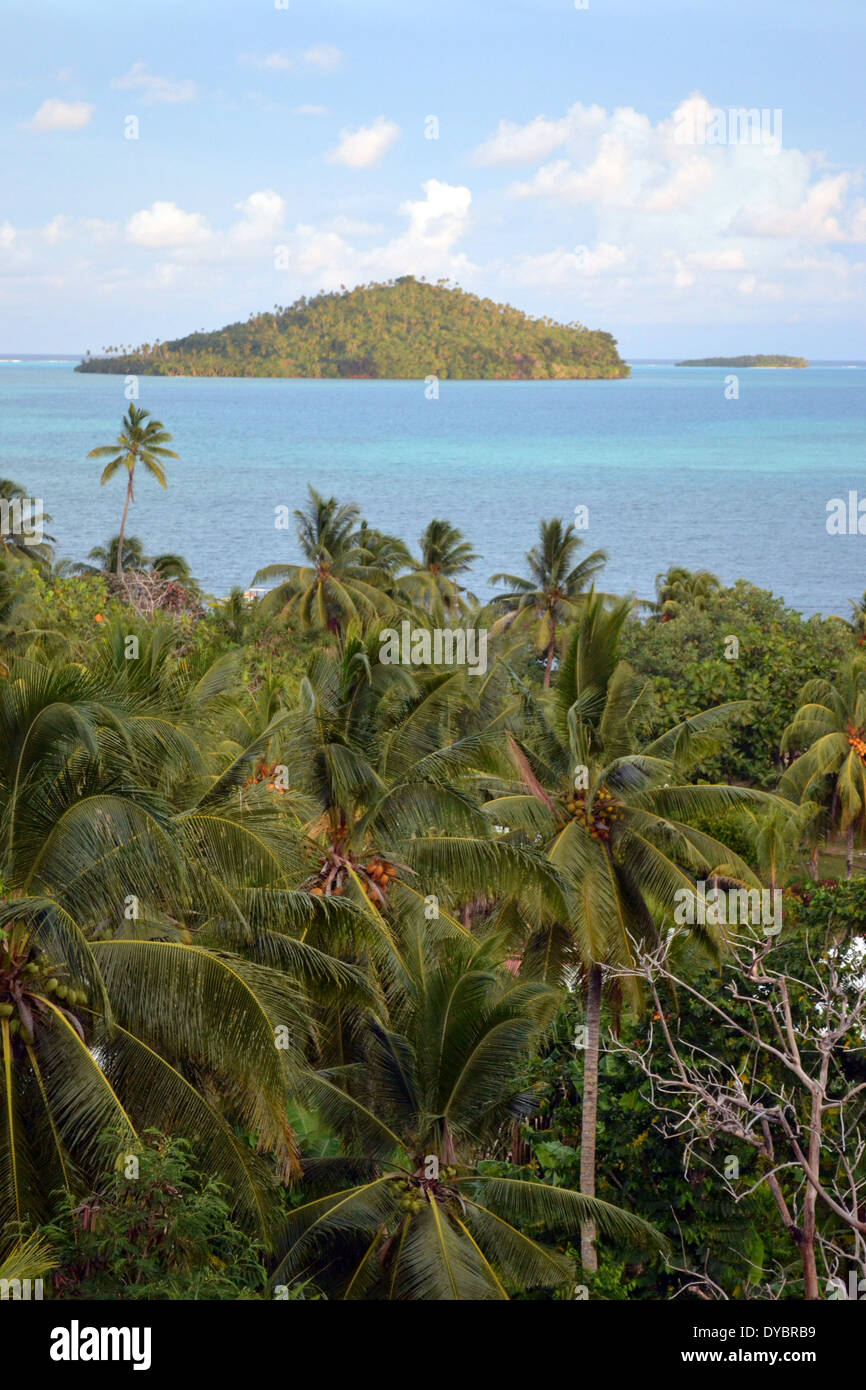 Luaniva Island in front of the capital city of Matautu, Wallis Island, Wallis and Futuna, Melanesia, South Pacific - Stock Image
