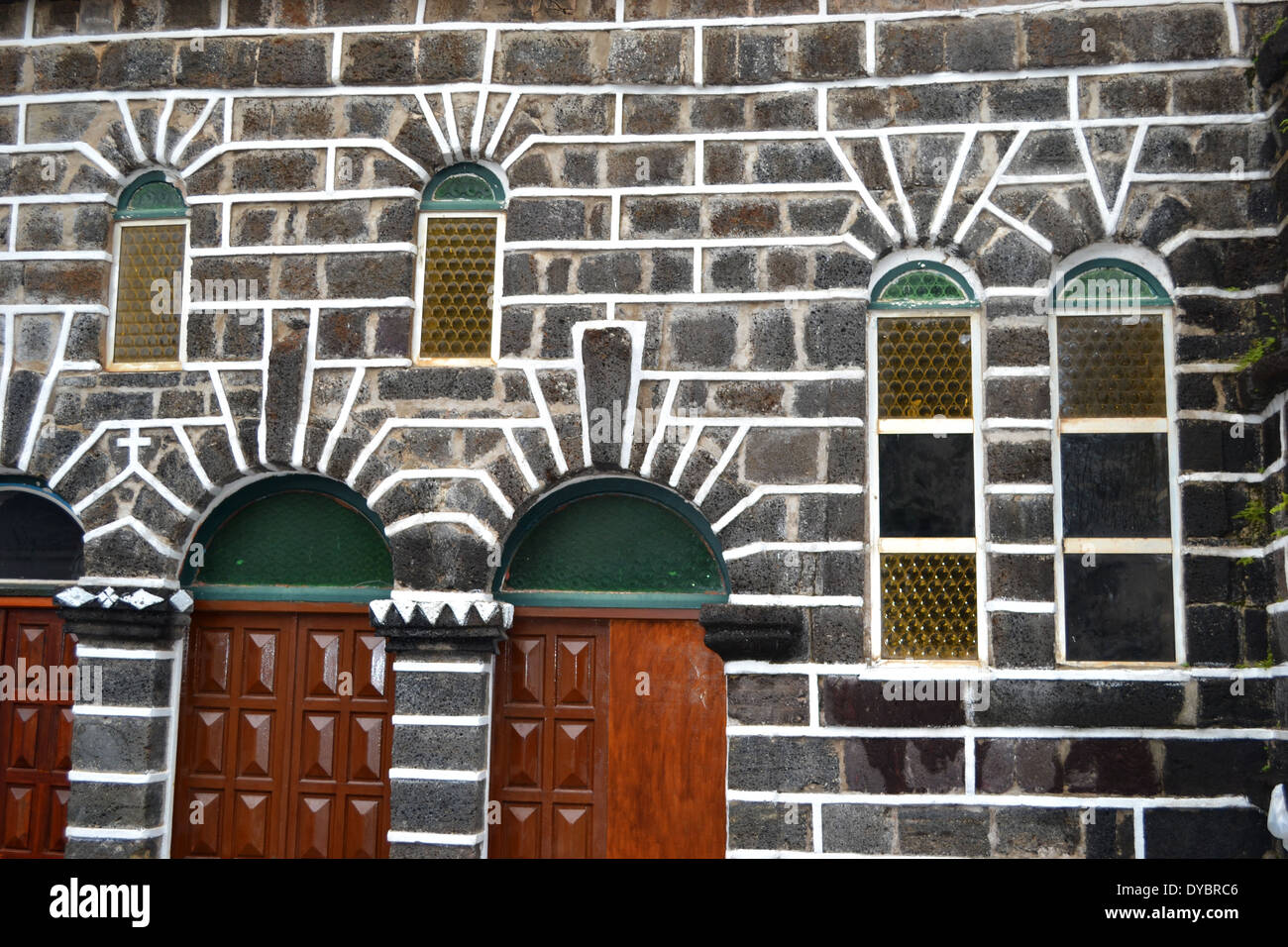 Architecture detail of Our Lady of Good Hope Cathedral in downtown Matautu, Wallis Island, Wallis and Futuna, Melanesia - Stock Image