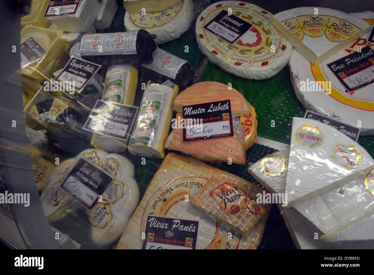 Imported French cheese in the supermarket in Matautu, traces of the French influence in Wallis Island, Wallis and Futuna - Stock Image