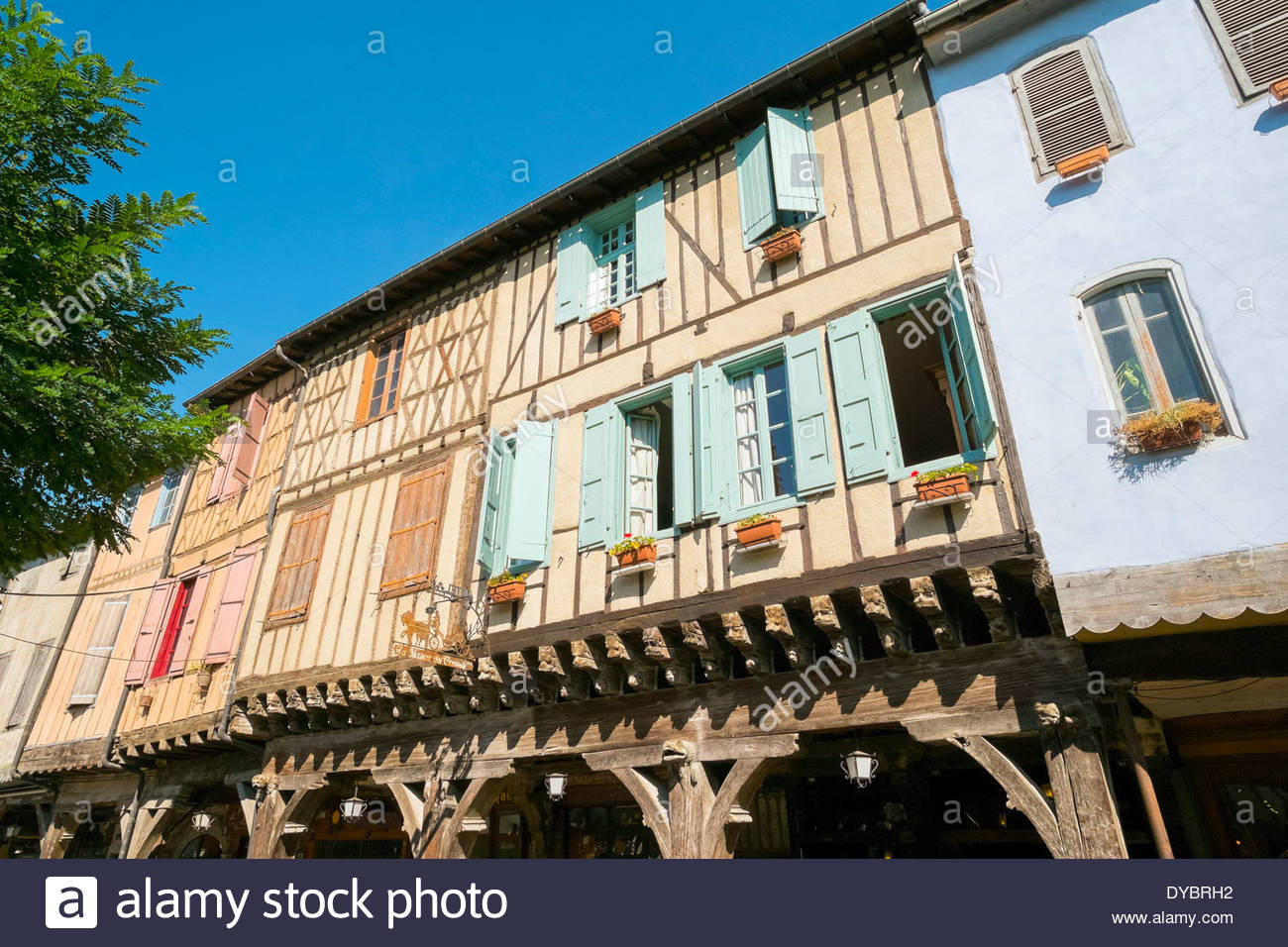 Half-timbered buildings on Place de Couverts in bastide town of Mirepoix, Ariège, Midi-Pyrénées, France - Stock Image
