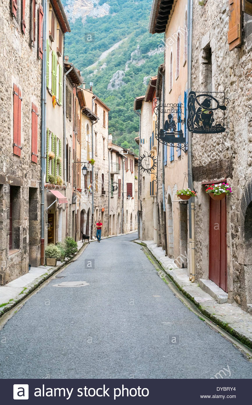 Streets in small town of Villefranche-de-Conflent, Pyrénées-Orientales, Languedoc-Roussillon, France - Stock Image