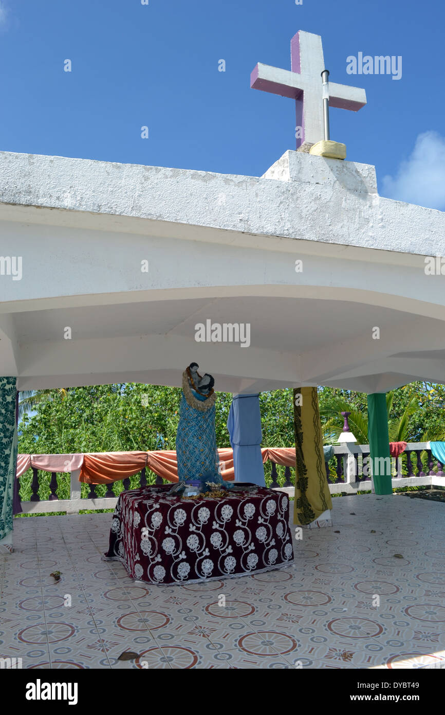 Traditional Christian altar in Nukutapu islet, Wallis Island, Wallis and Futuna, Melanesia, South Pacific - Stock Image