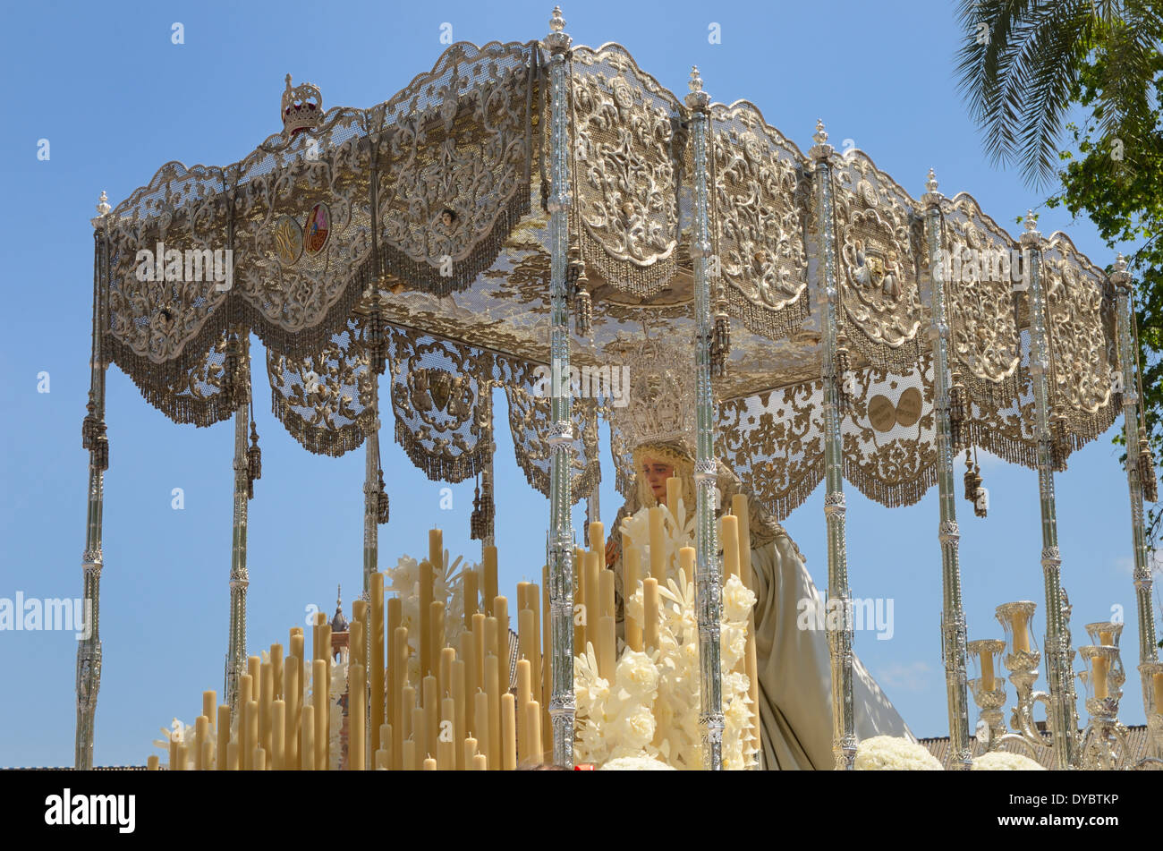 Image on the Virgin Mary in the holy week of Sevile, Andalusia, Spain. - Stock Image