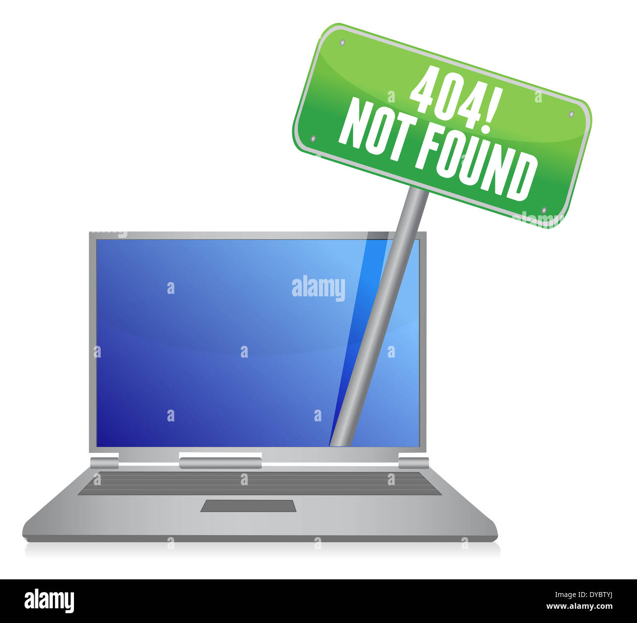 laptop with a 404 error message illustration design over white - Stock Image