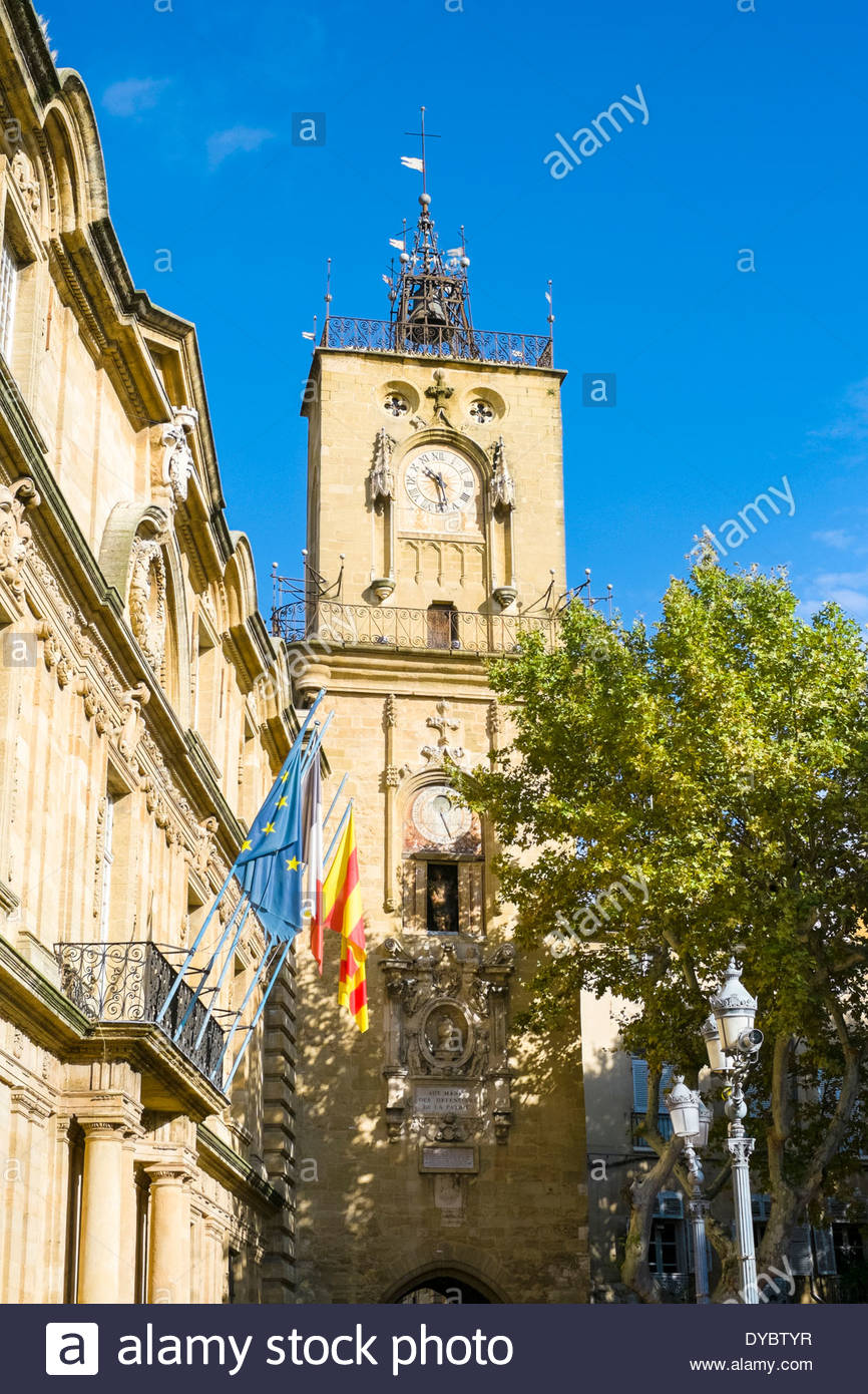 Clocktower of the Hotel de Ville on Place de l'Hôtel de Ville, Aix-en-Provence, France - Stock Image