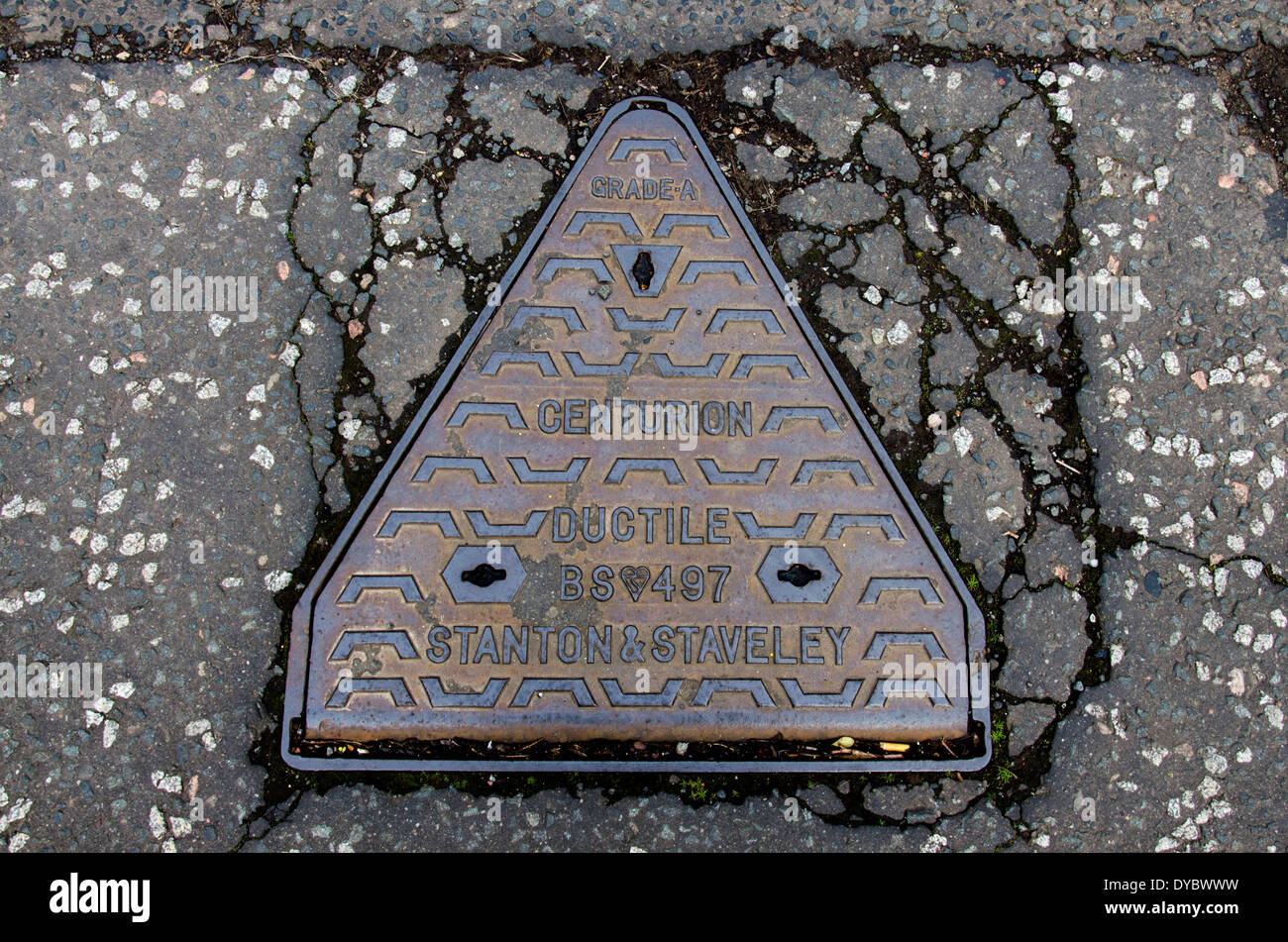 An example of a Centurion Ductile manhole cover made by Stanton and Staveley ironworks. - Stock Image