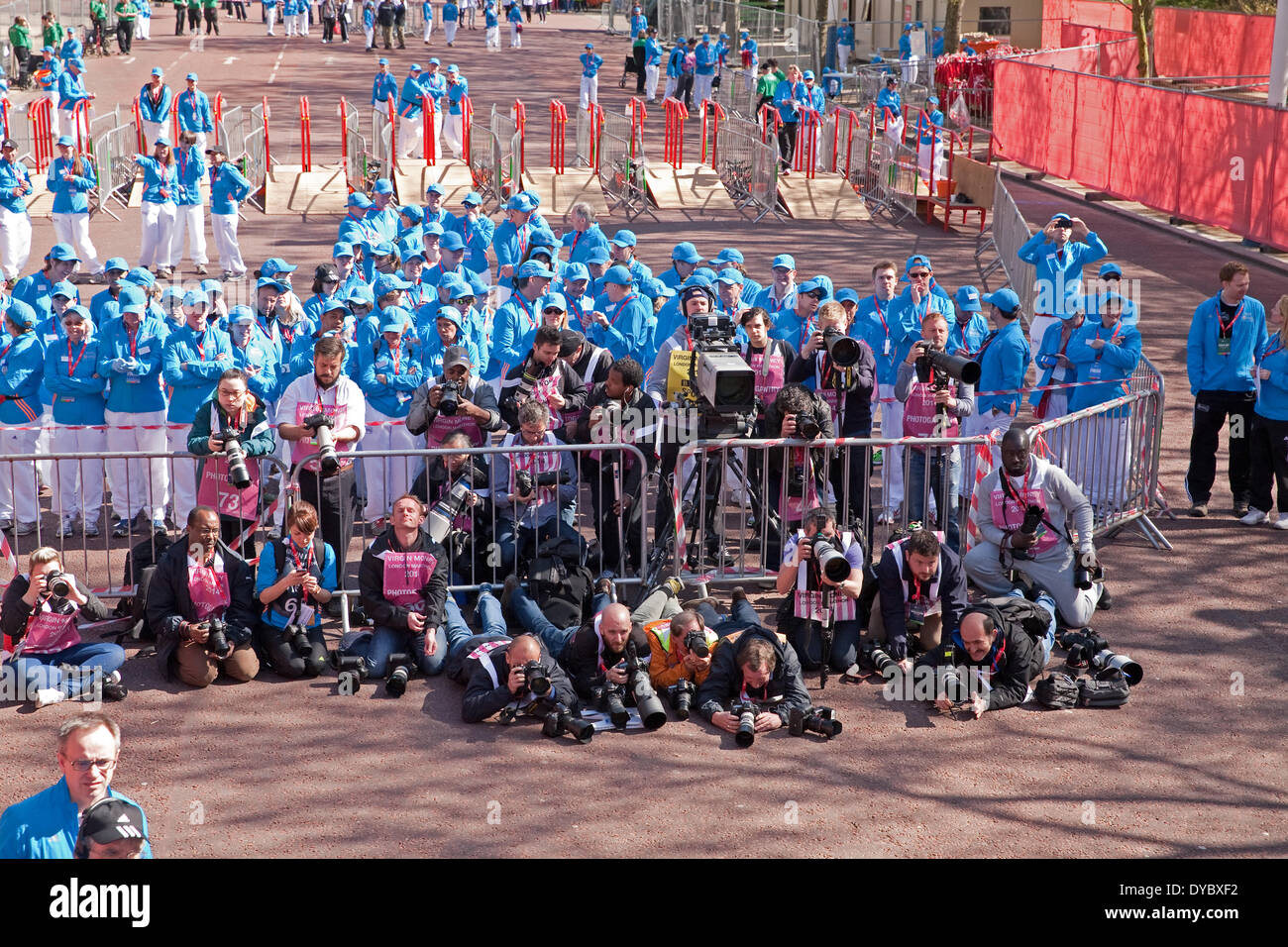 London,UK,13th April 2014,The Press waiting for the winner of the London Marathon 201 Credit: Keith Larby/Alamy Live News - Stock Image