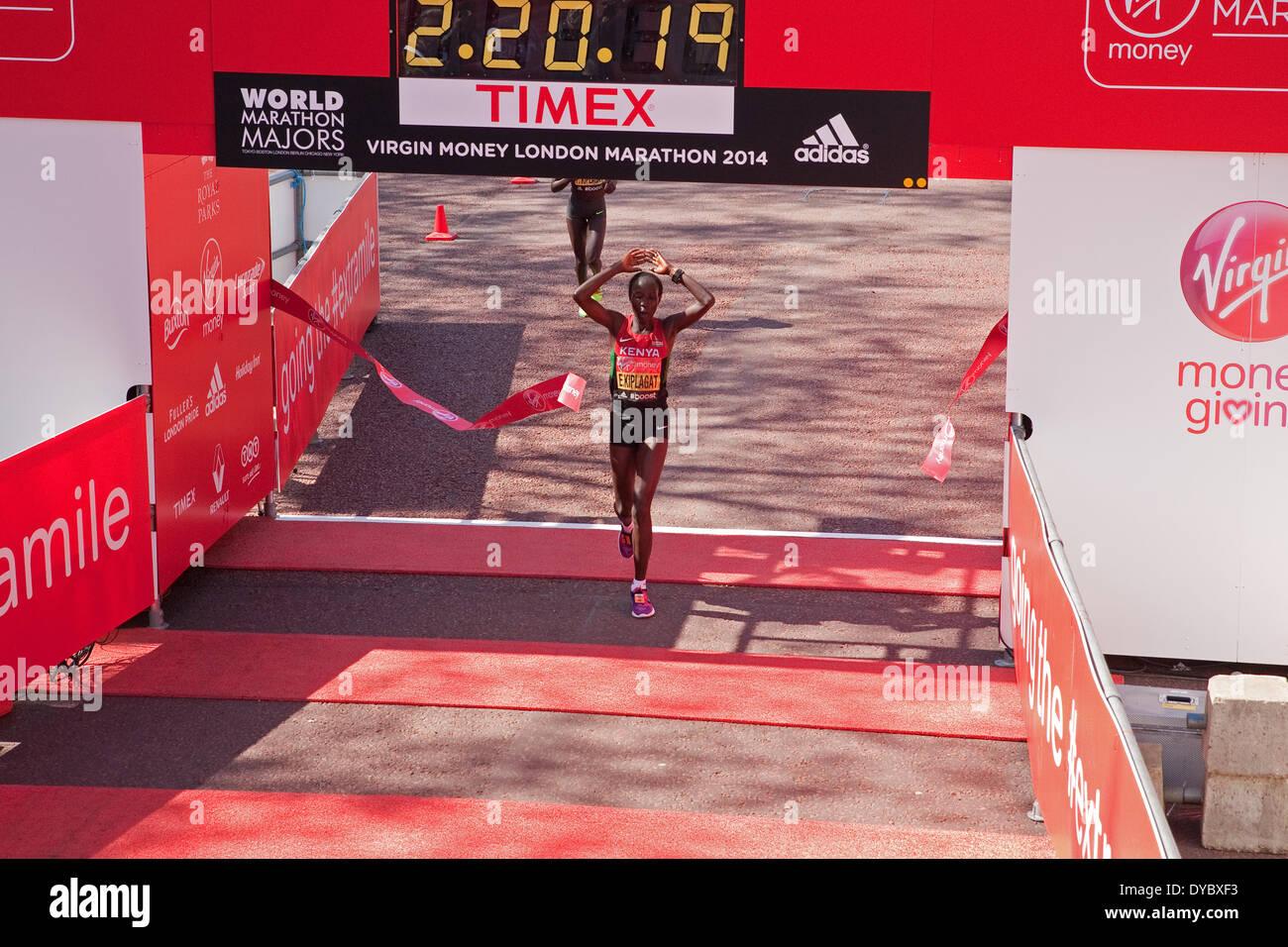 London,UK,13th April 2014,Edna Kiplagat was the winner of the London Marathon 201 Credit: Keith Larby/Alamy Live News - Stock Image