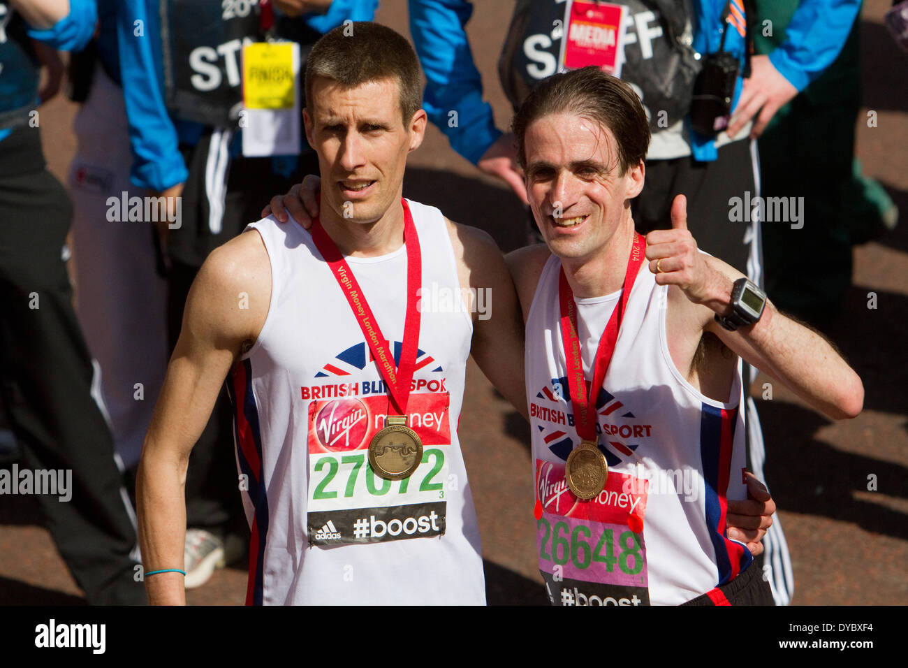 London,UK,13th April 2014,Noel Thatcher after finishing the London Marathon 201 Credit: Keith Larby/Alamy Live News - Stock Image