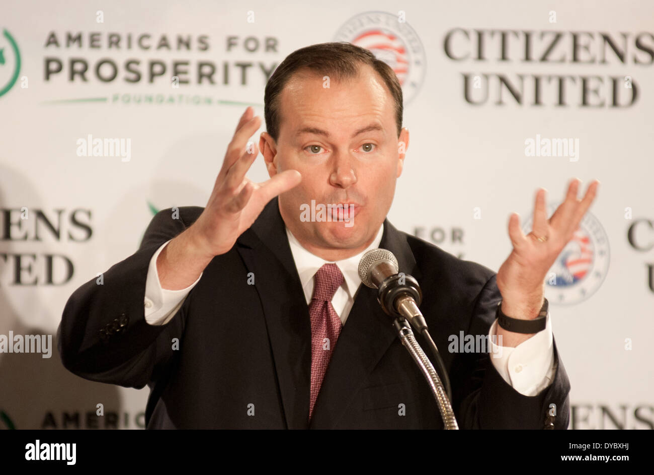 U.S. Senator Mike Lee, Republican of Utah, speaks at a conservative rally in Manchester, New Hampshire, on 4-12-14. - Stock Image