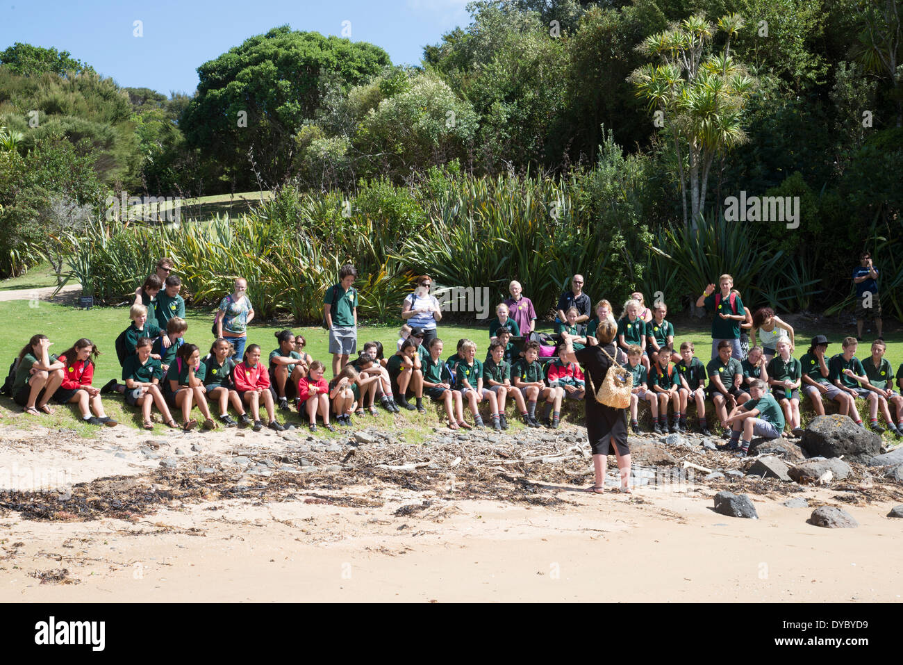 Educational tour schoolchildren listening to a teacher during a coastal visit New Zealand - Stock Image