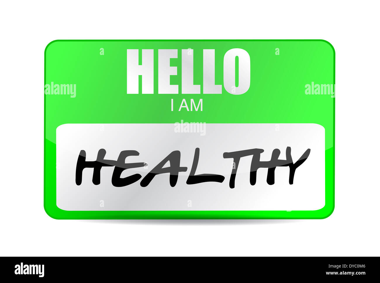 Hello Im Healthy Name Tag Illustration Design Over A White Background