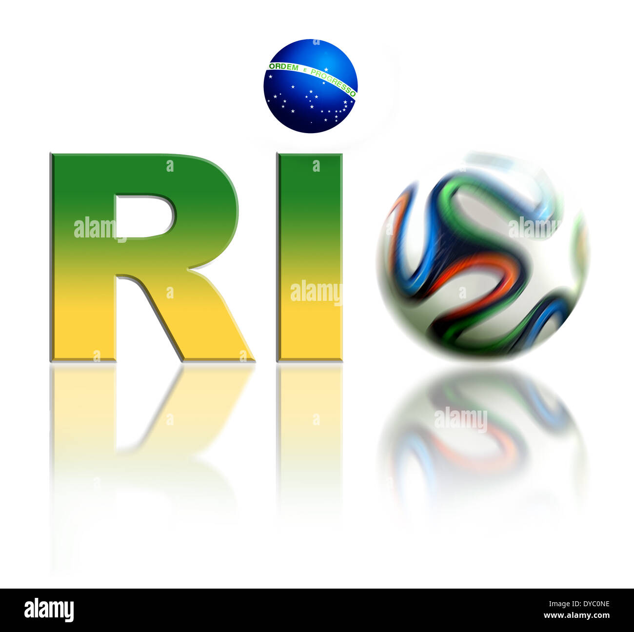 Rio World Cup 2014 Logo with Brasilian flag colours and football. Isolated on white background. - Stock Image