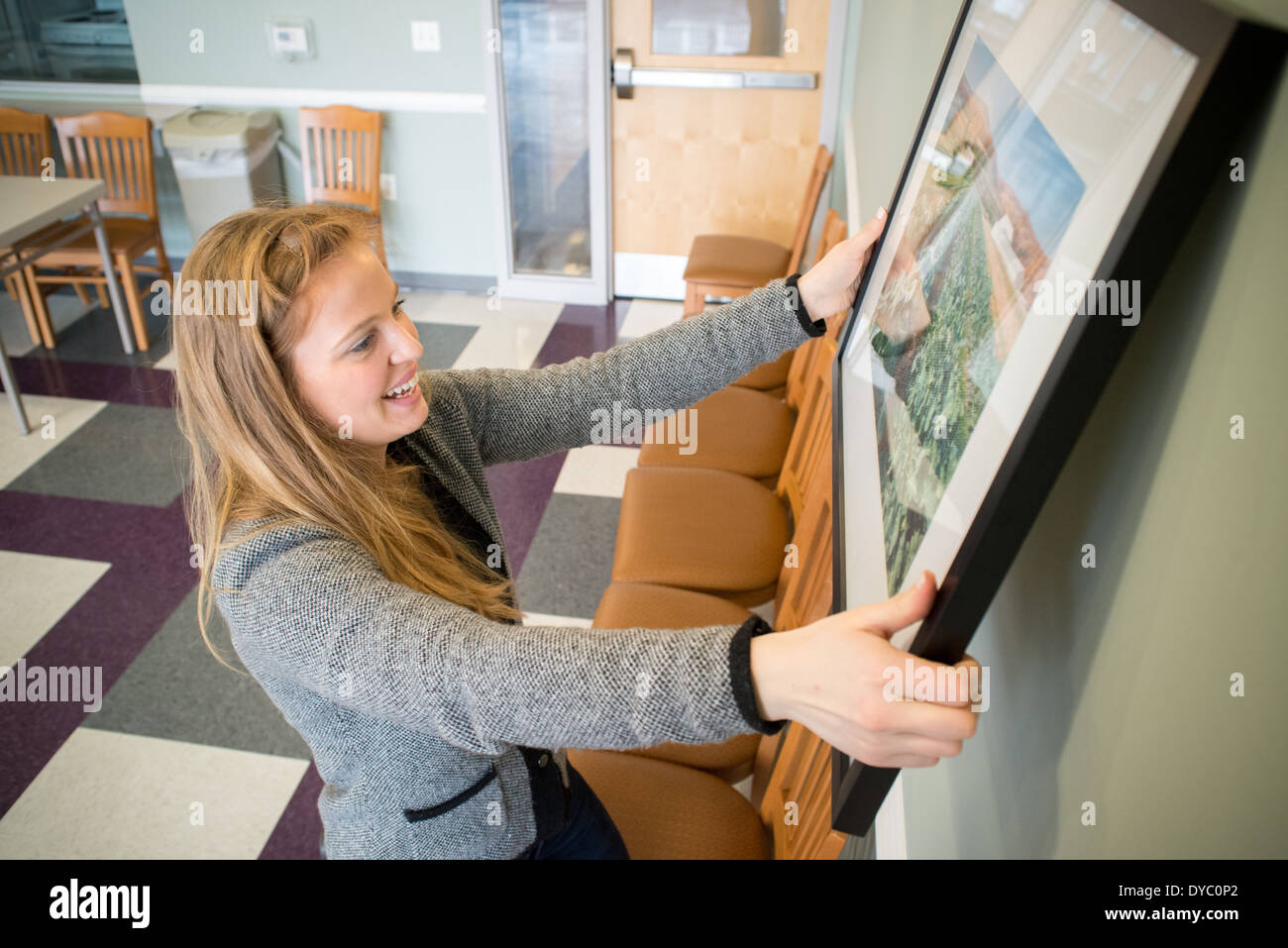 Young woman hanging photographs on wall - Stock Image